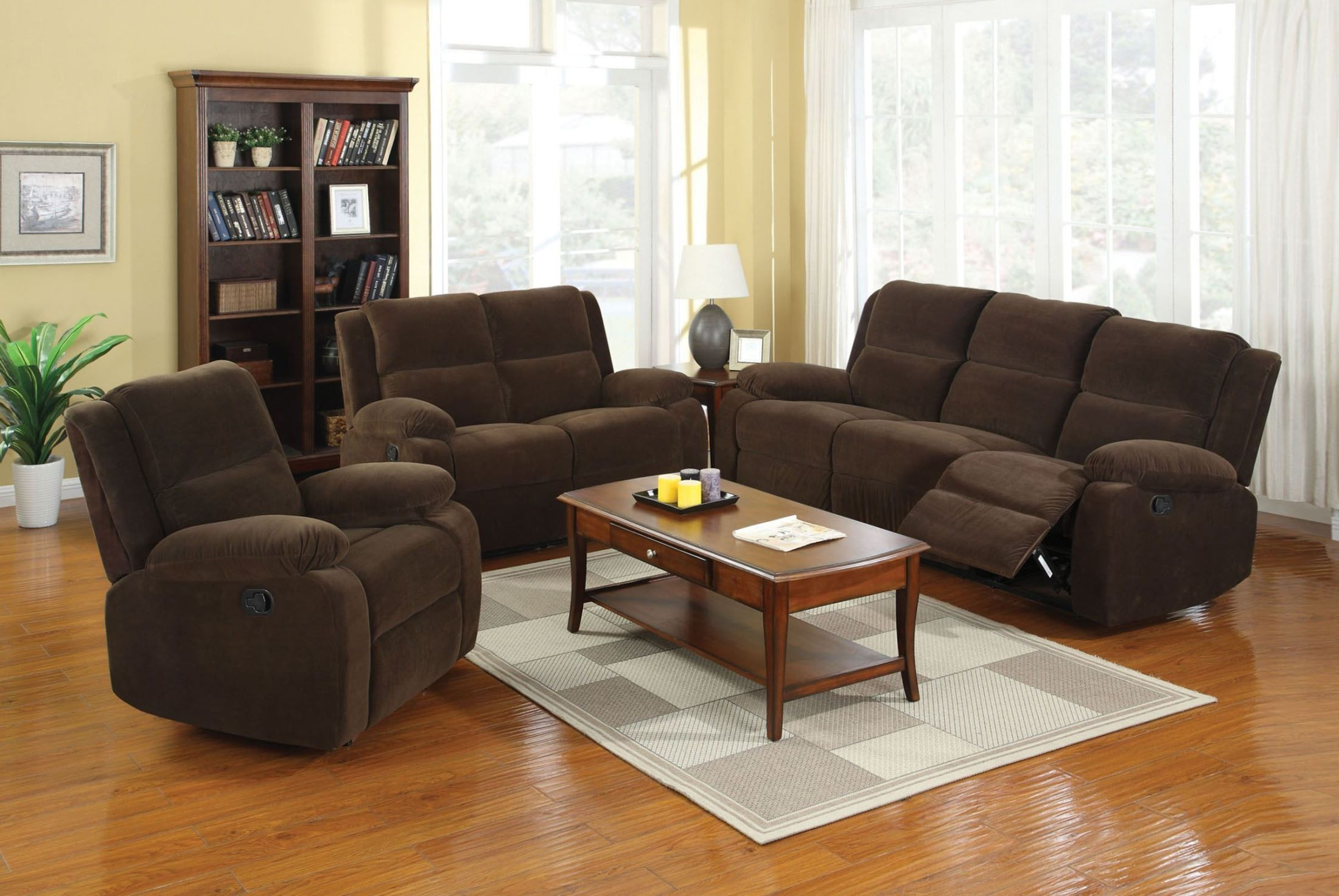 Haven dark brown flannelette reclining living room set for Dark brown living room set