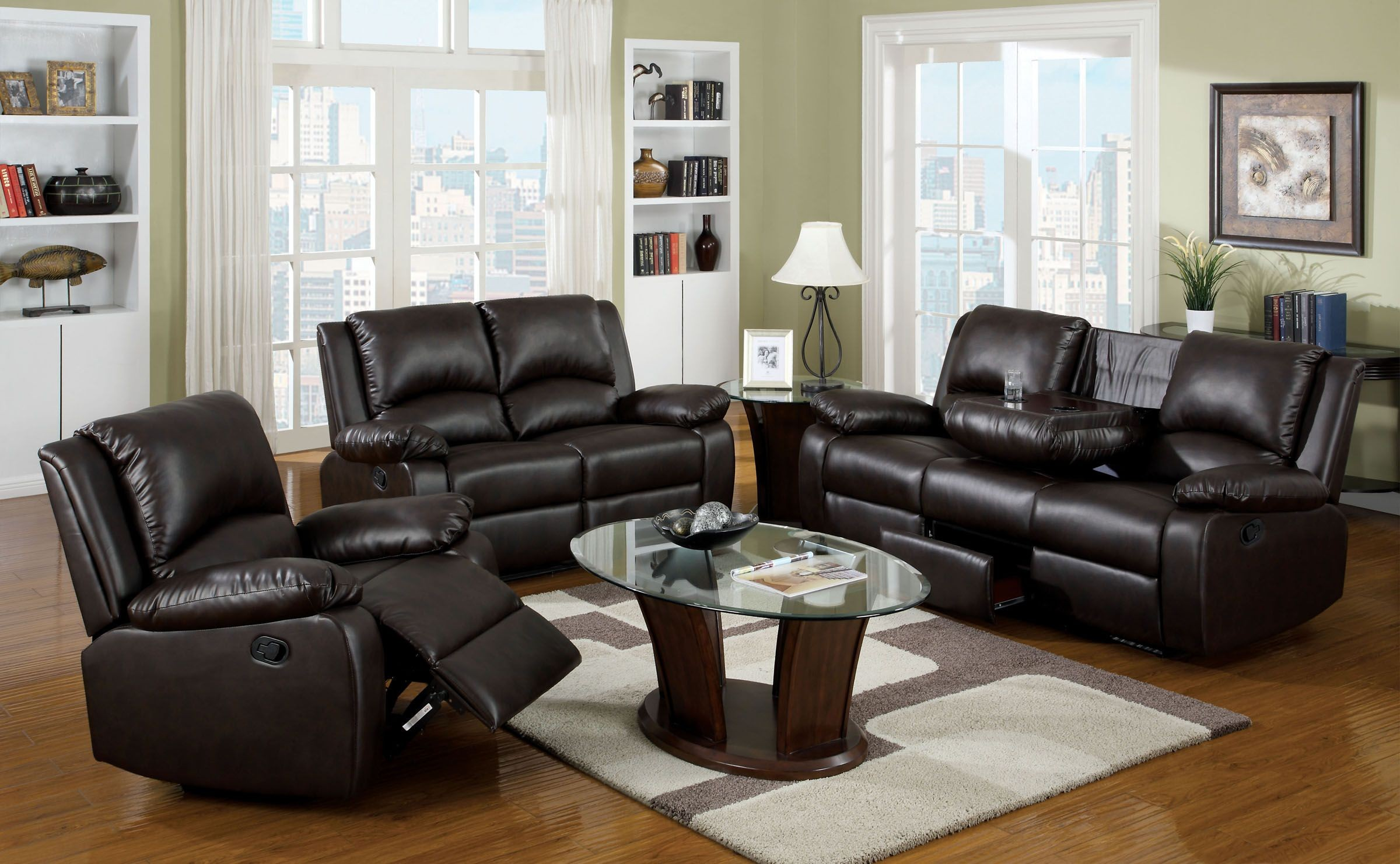 Oxford rustic dark brown leatherette reclining living room for Dark brown living room set