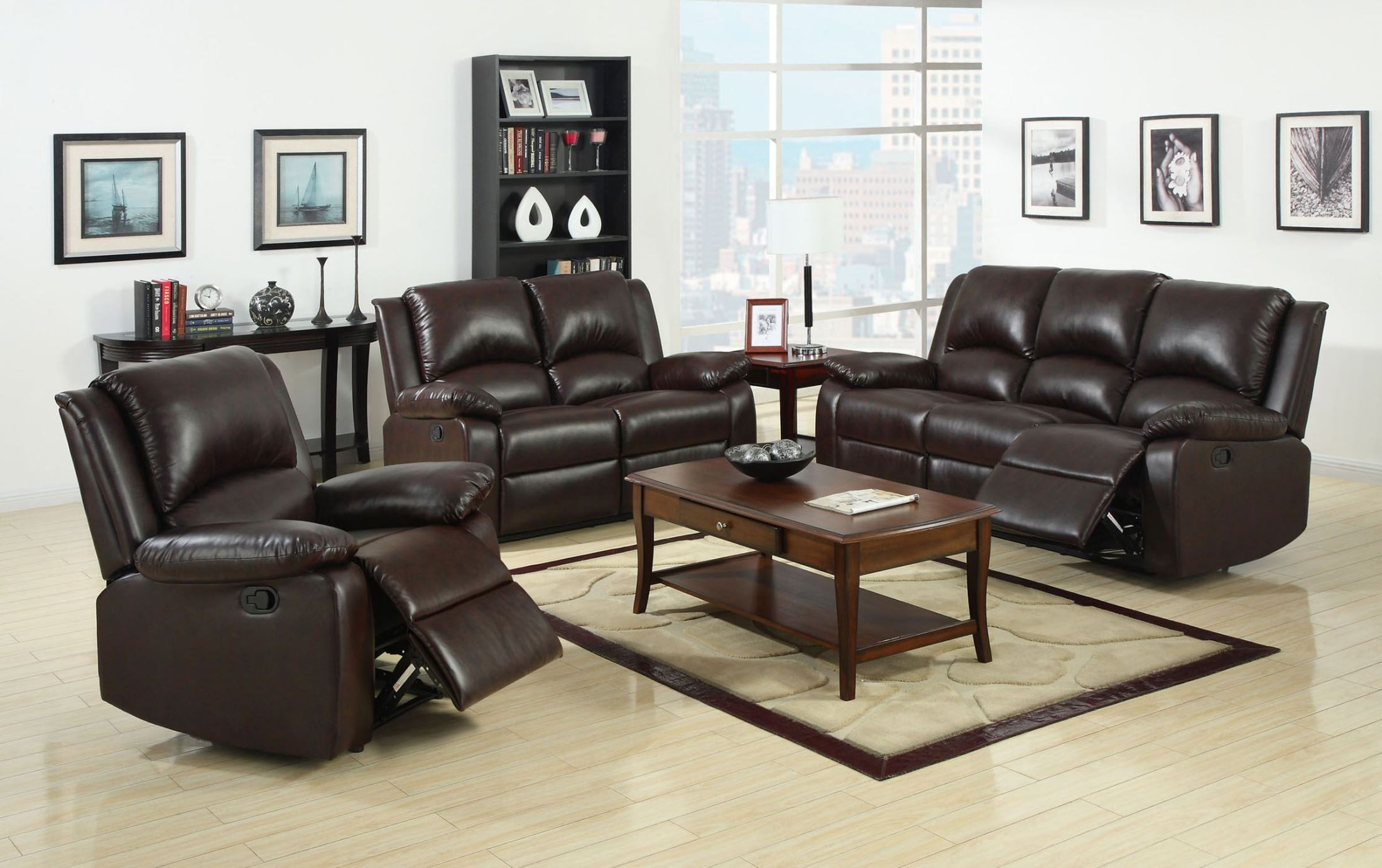 Oxford Rustic Dark Brown Leatherette Reclining Living Room