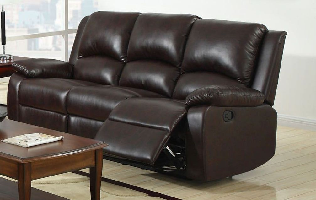 Oxford Rustic Dark Brown Leatherette Reclining Sofa From