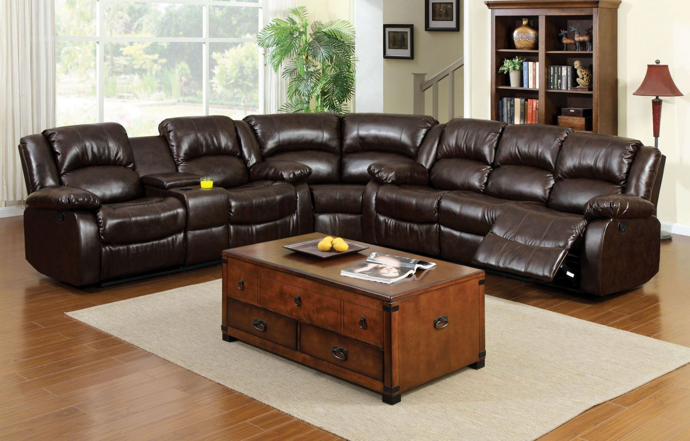 winslow rustic brown bonded leather match reclining sectional from