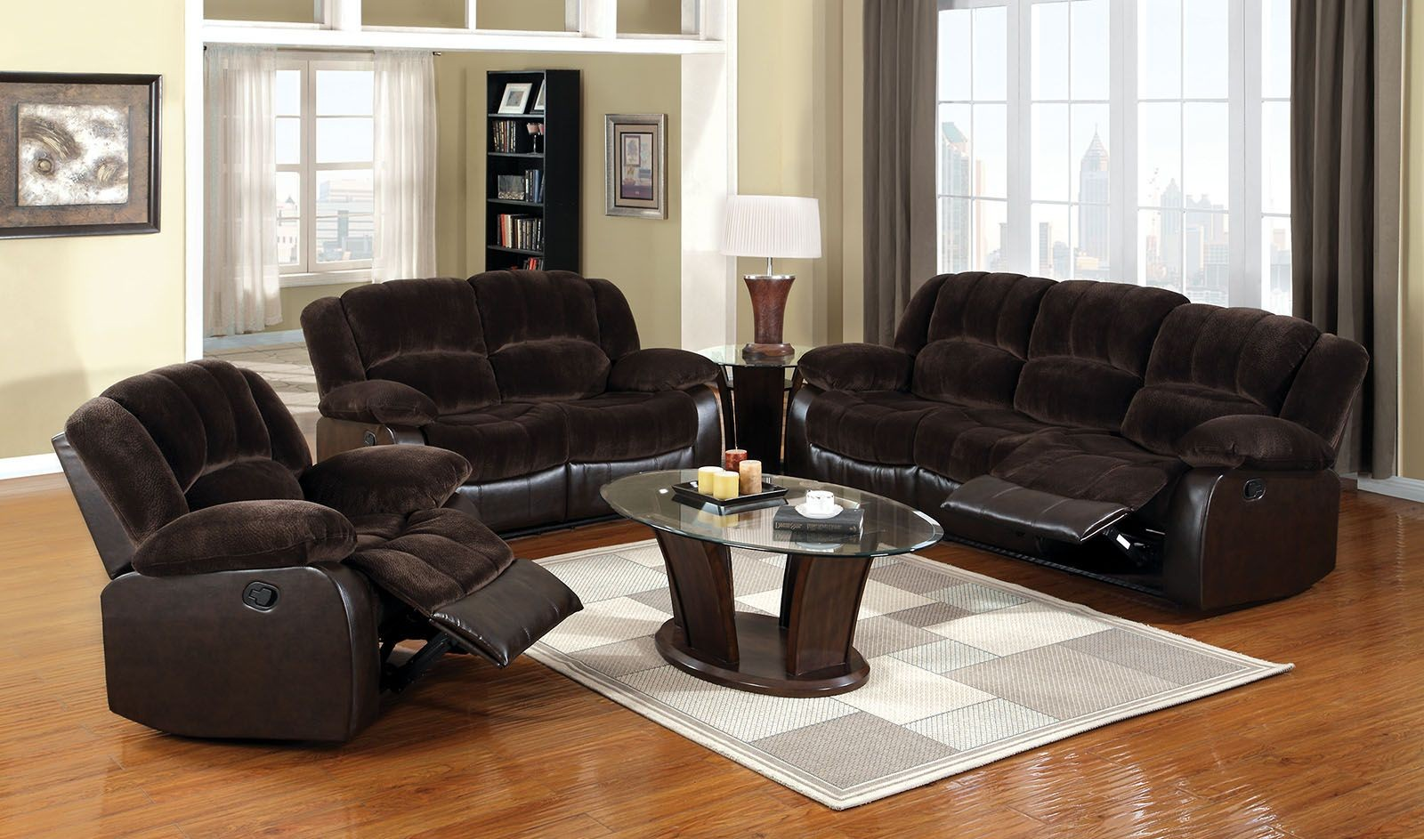 Winslow rustic brown reclining living room set cm6556 s for Cheap reclining living room sets