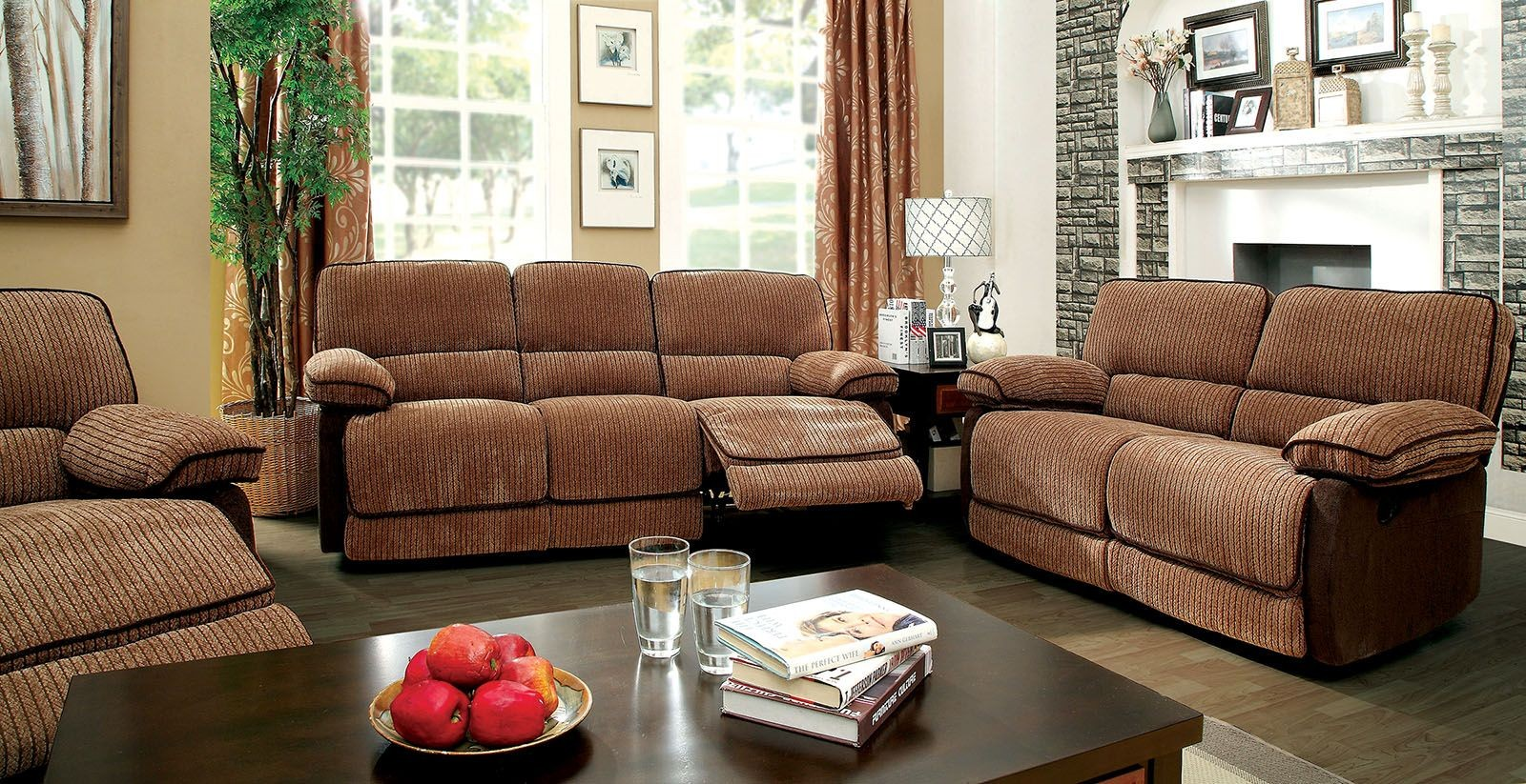 Hazlet Brown Chenille Fabric Living Room Set Cm6581 Sf Furniture Of America