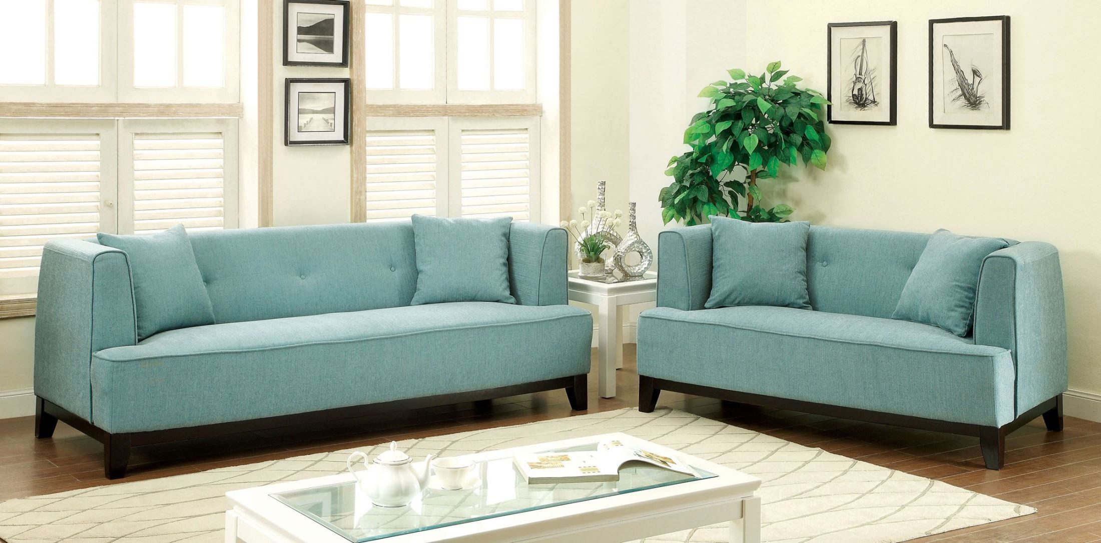 sofia blue living room set from furniture of america cm6761bl sf pk
