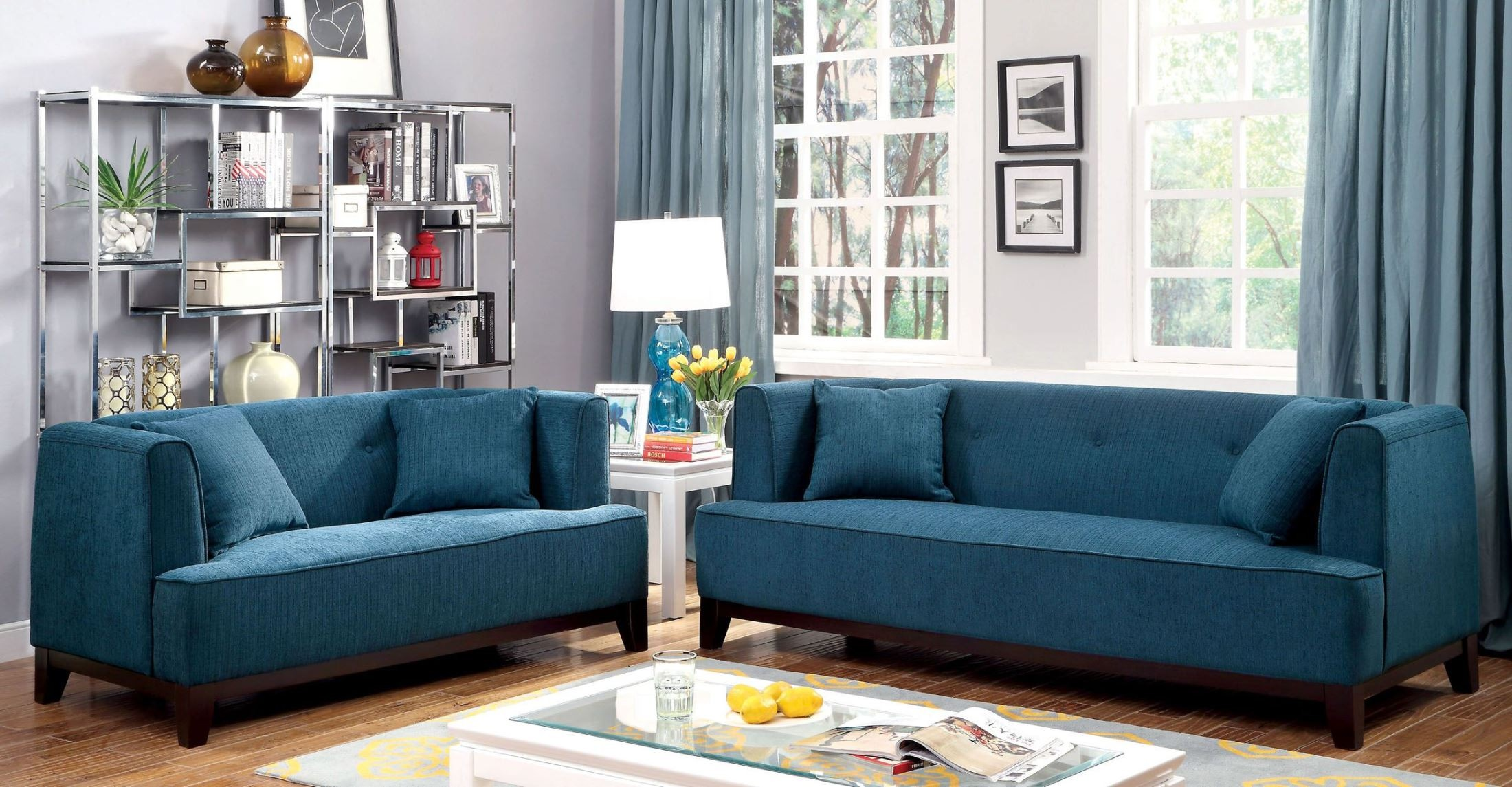 Sofia dark teal living room set from furniture of america for Furniture of america living room collections