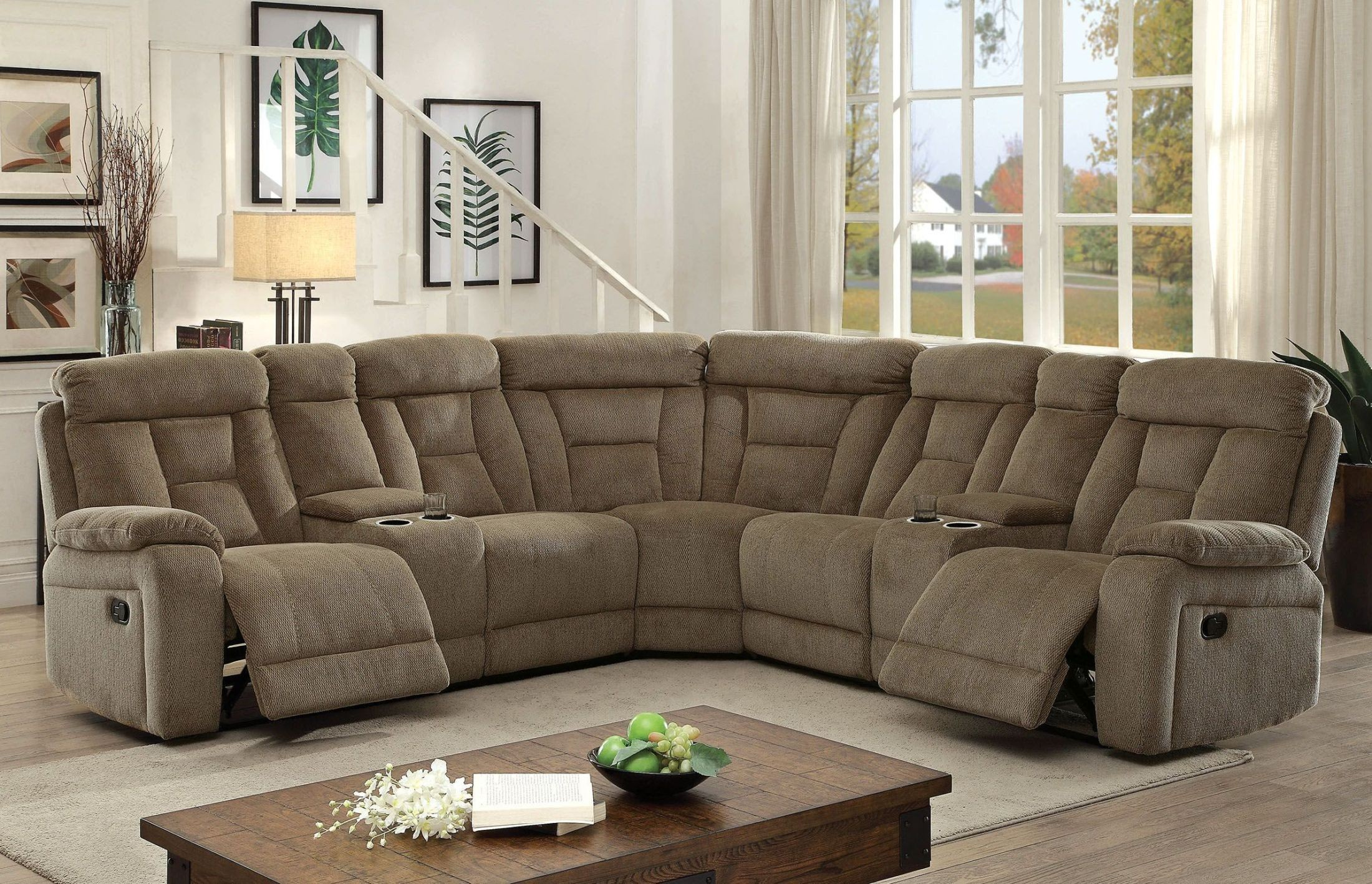 Maybell Mocha Recliner Sectional, CM6773MC-SECTIONAL ...