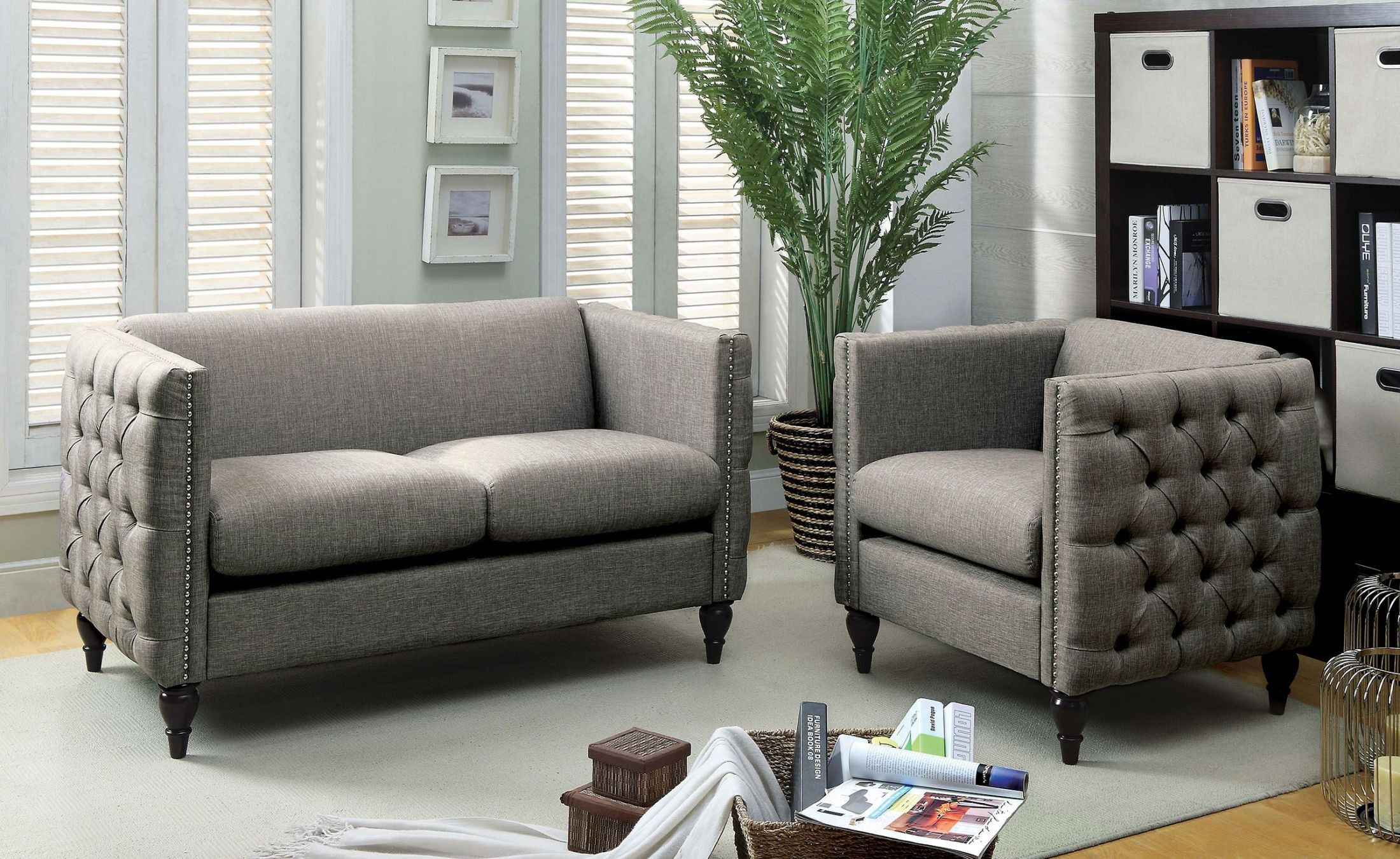 emer gray living room set cm6780gy lv set furniture of america