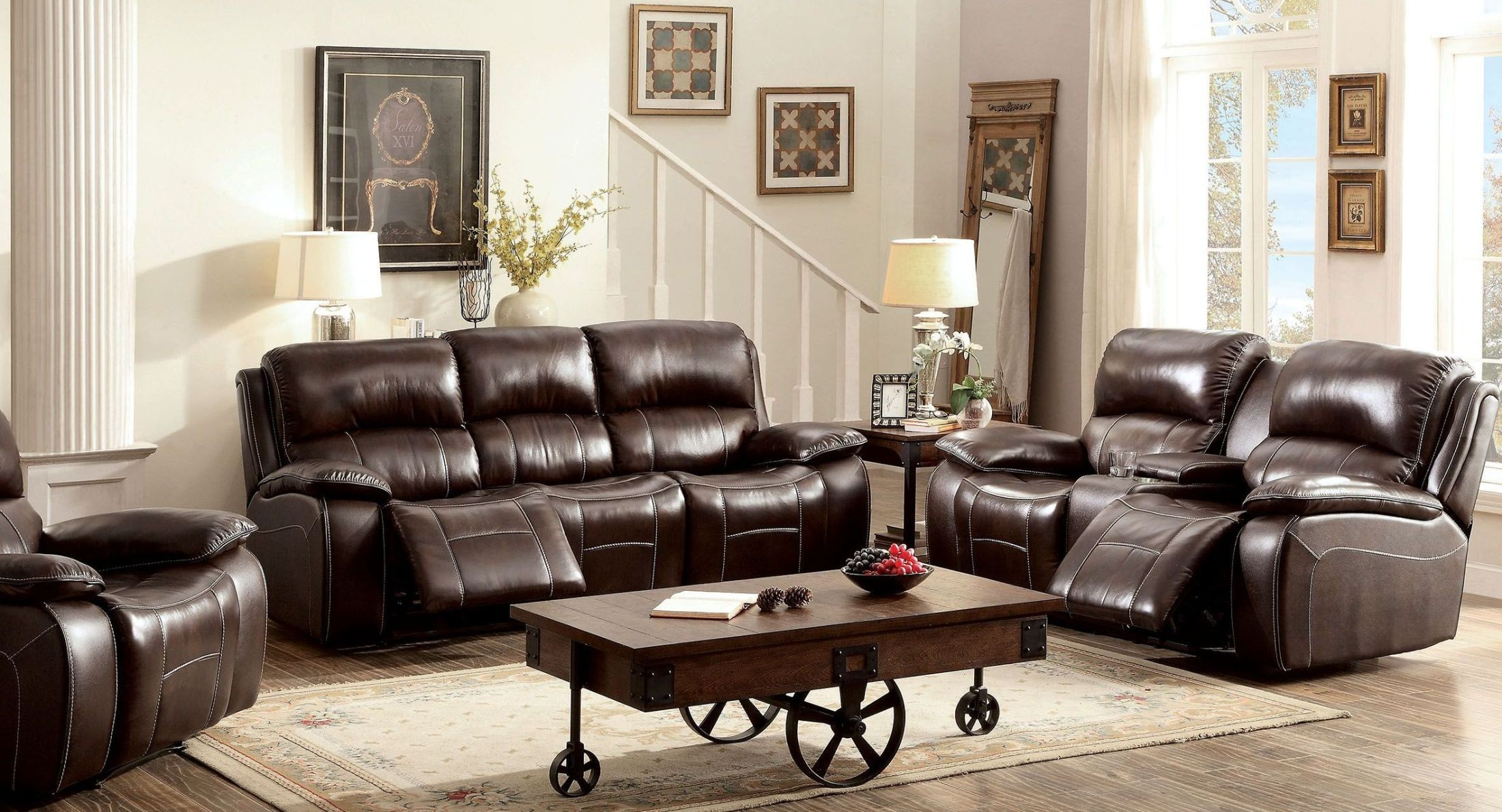 ruth brown leather reclining living room set cm6783br sf furniture of america. Black Bedroom Furniture Sets. Home Design Ideas