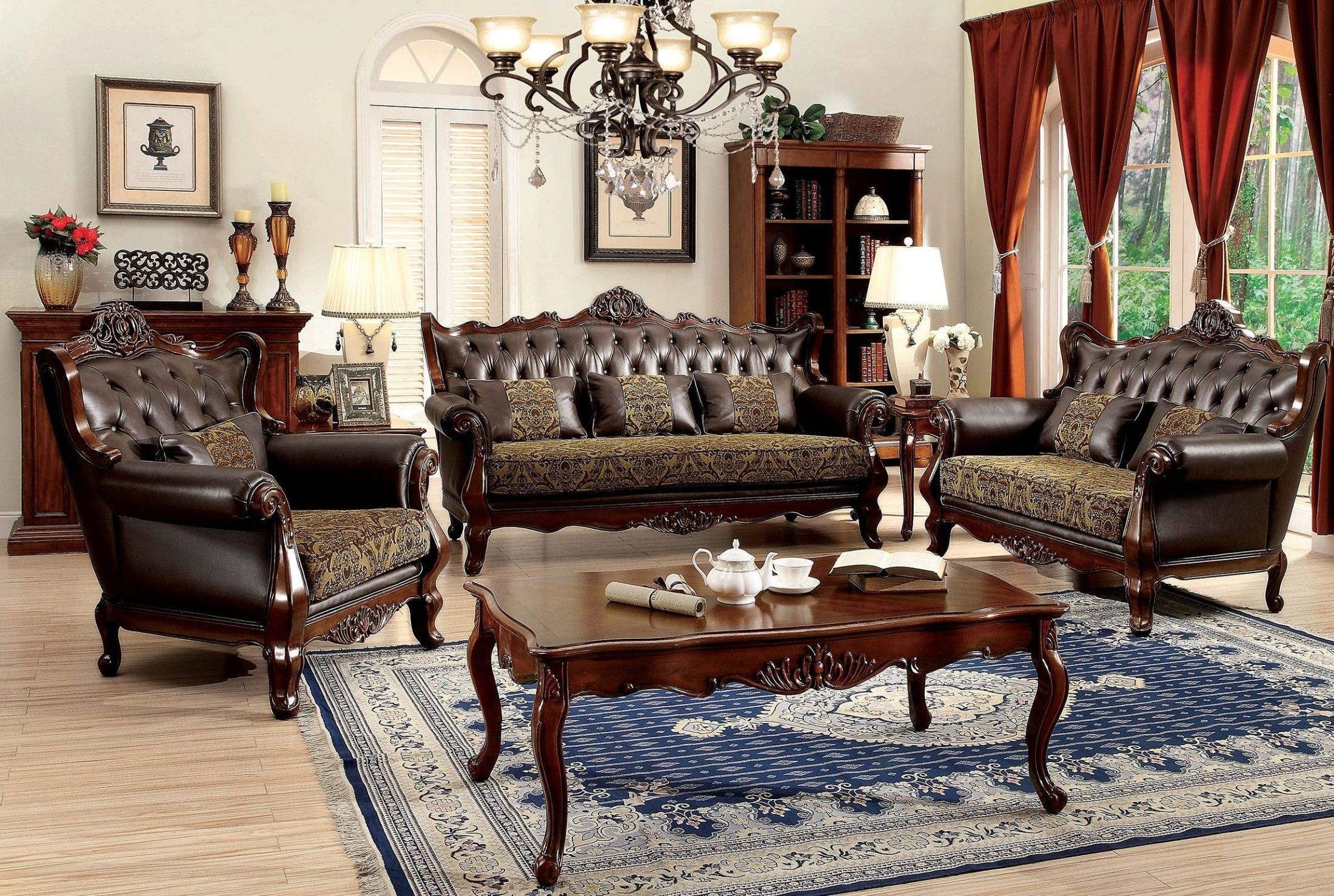 Kamilah dark oak leather living room set cm6787 sf pk furniture of