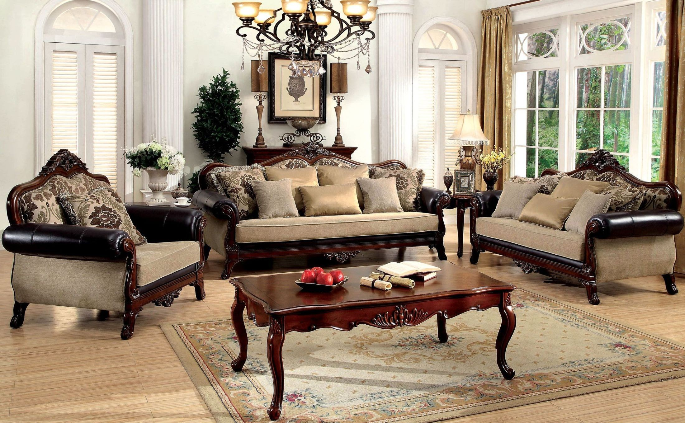 rashid dark oak living room set cm6789 sf pk furniture of america