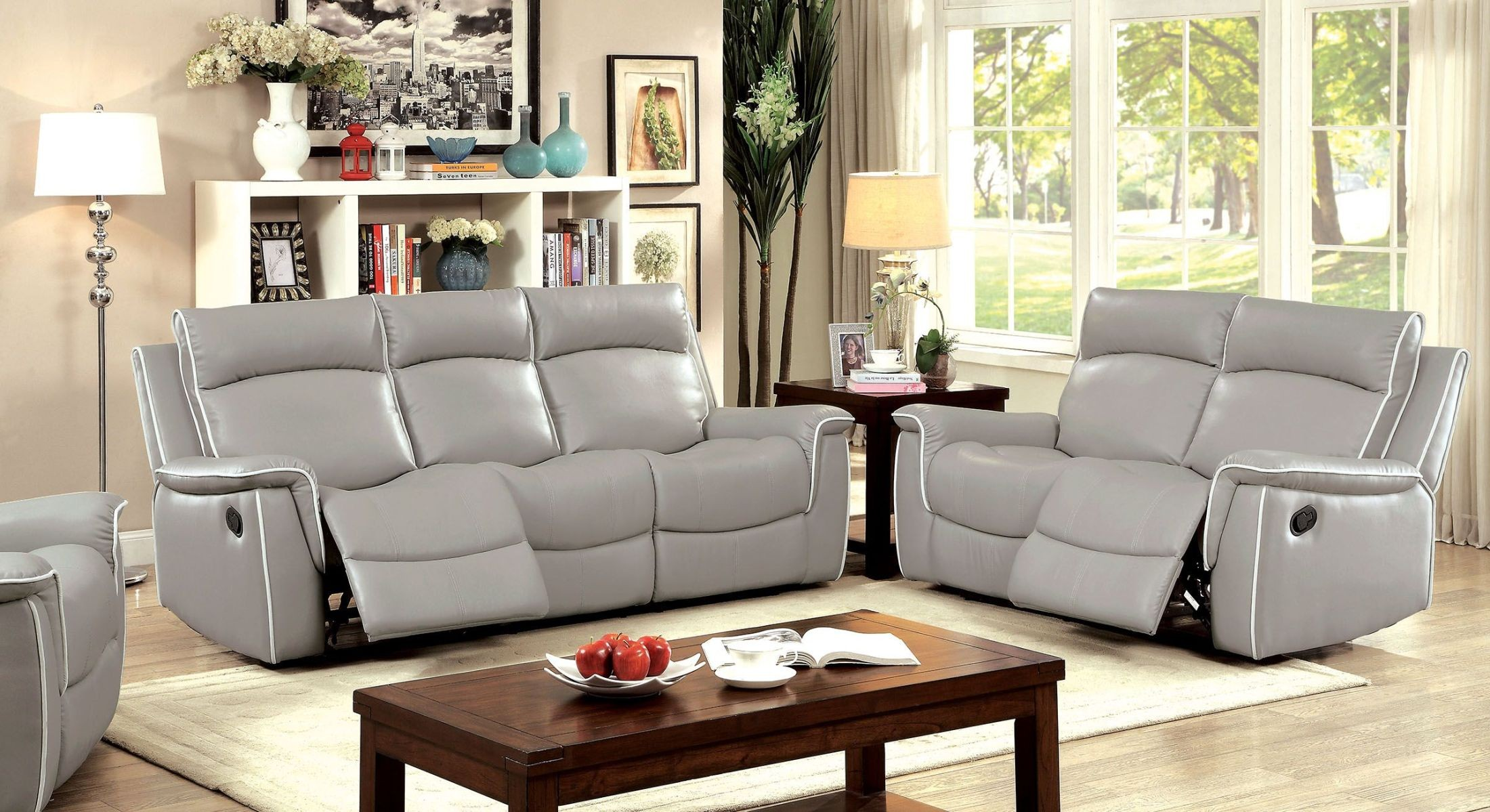 Salome light gray recliner living room set cm6798 sf for Front room furniture sets