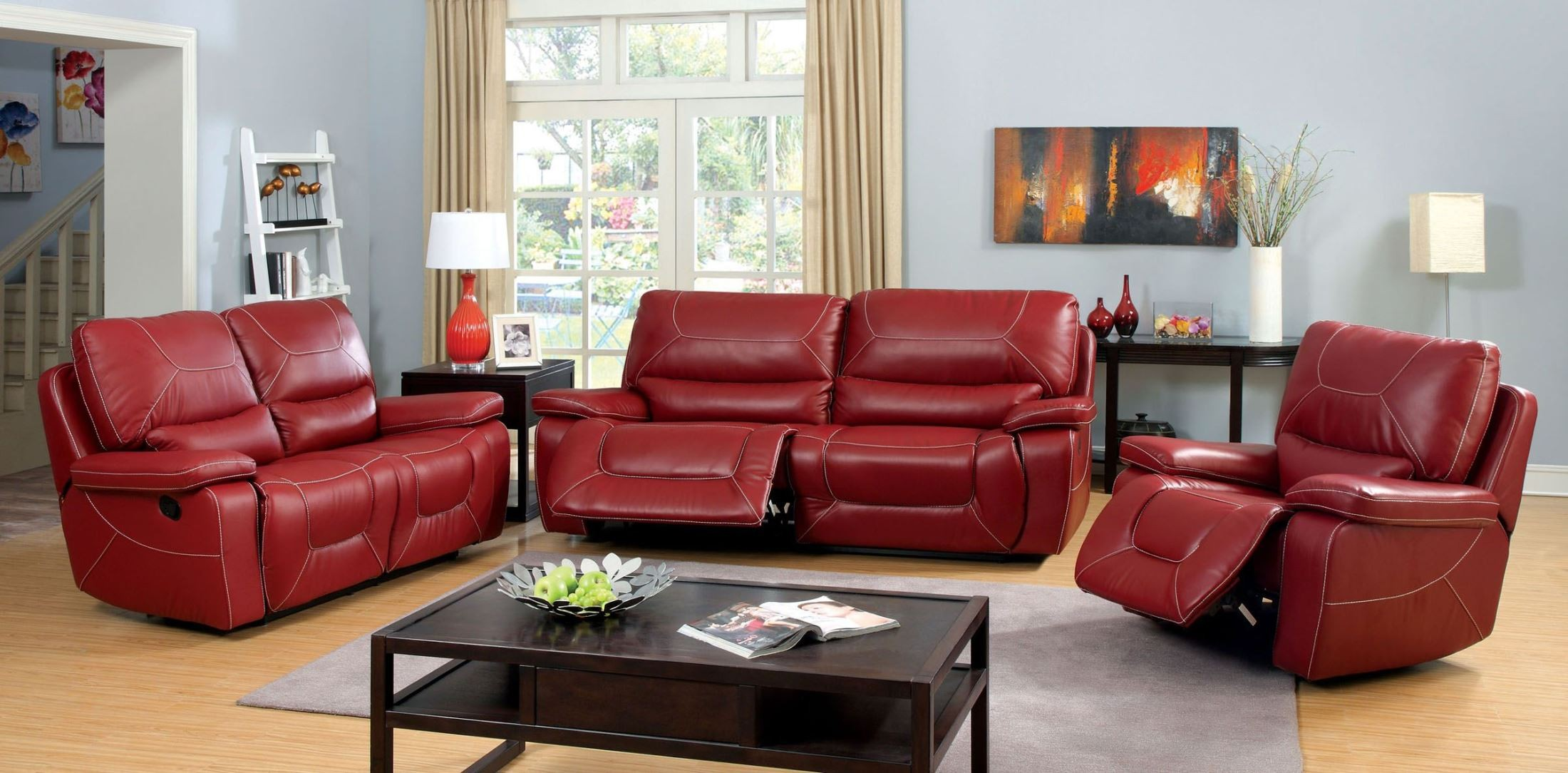 Newburg Red Reclining Living Room Set From Furniture Of America CM6814RD SF