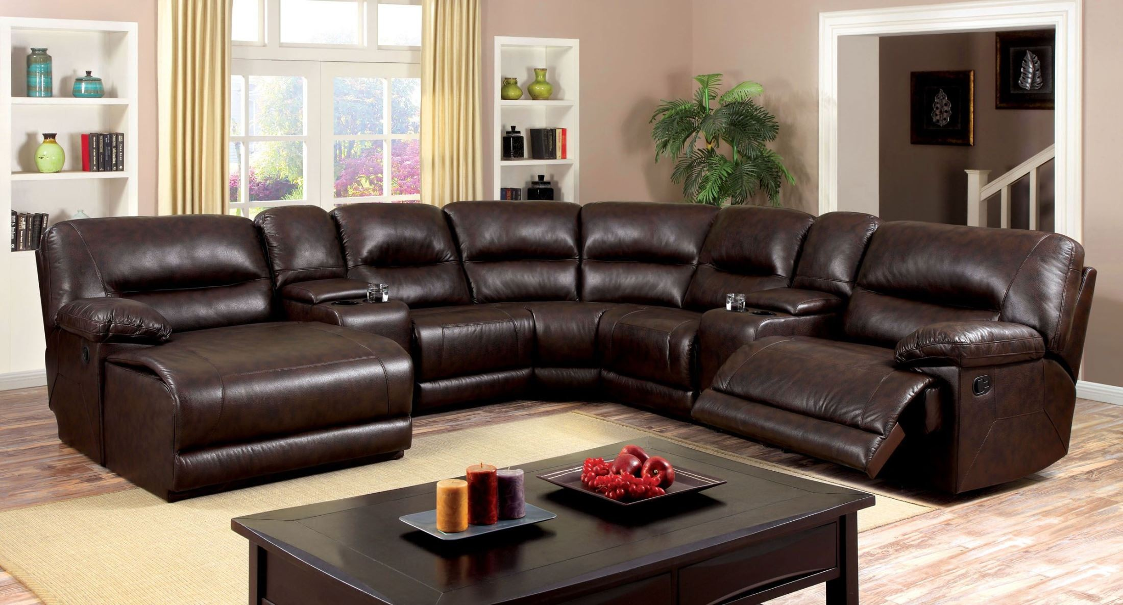Glasgow 7 Piece 2 Reclining Console Sectional From Furniture Of America Cm6822br Sectional