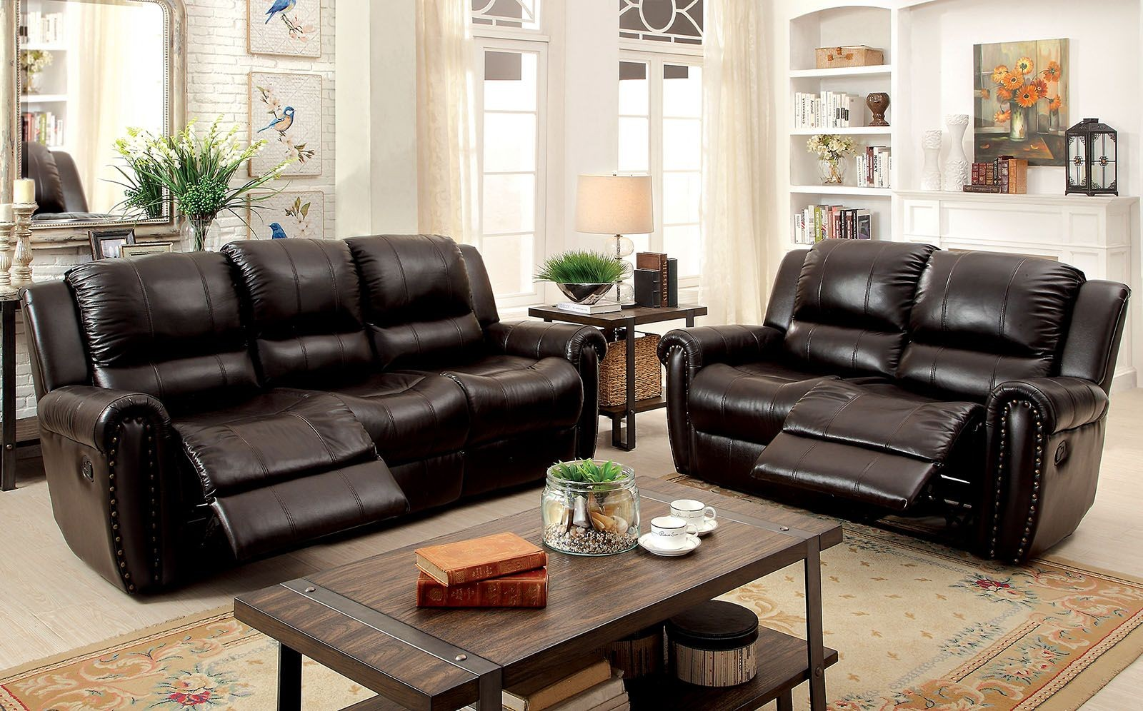 Foxboro Leather Reclining Living Room Set CM6909SF Furniture Of America