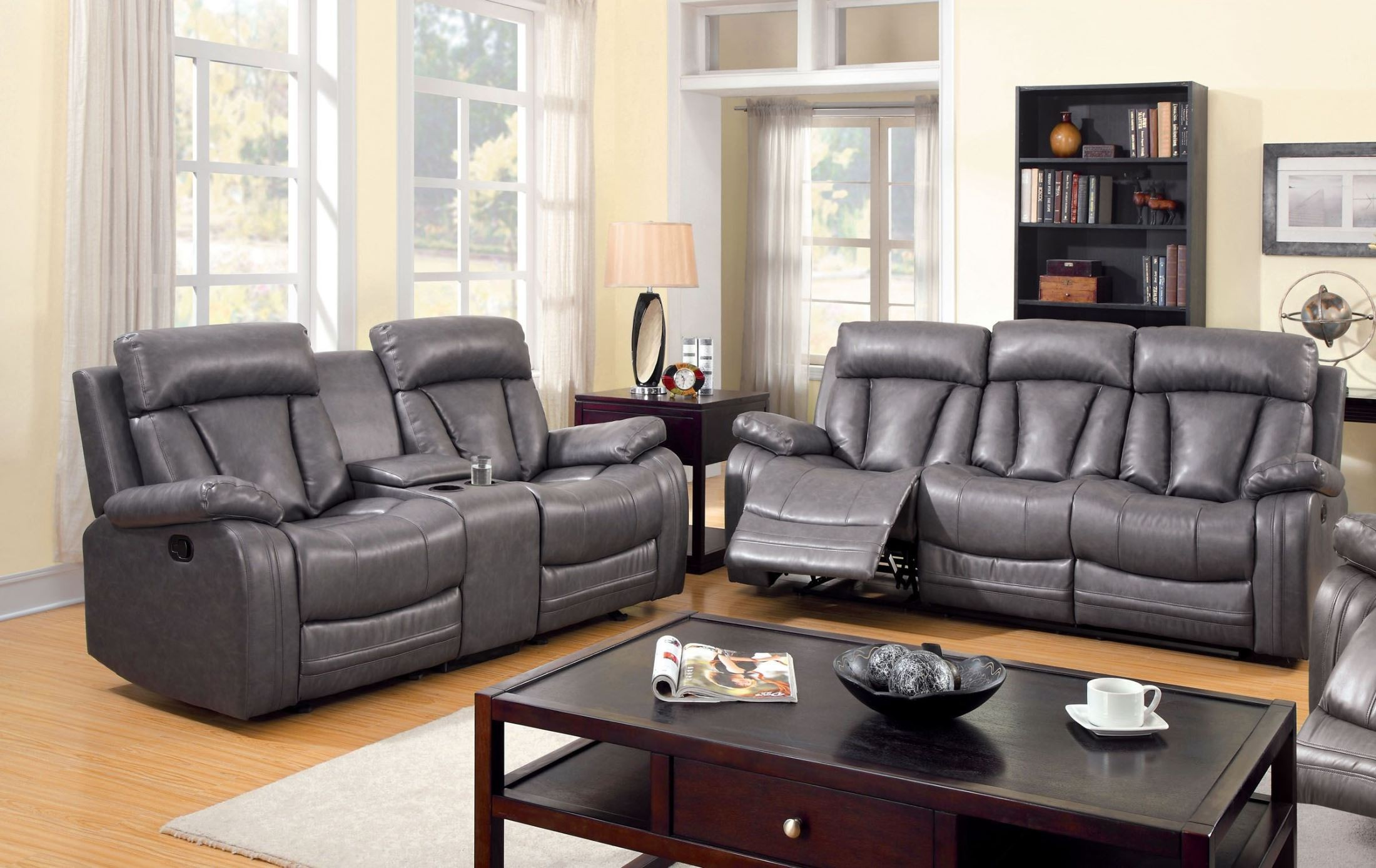 Guilford gray bonded leather reclining living room set for Cheap reclining living room sets