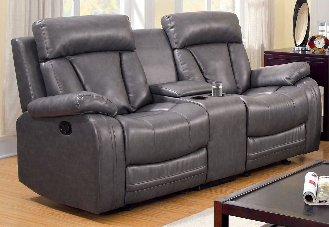 Guilford Gray Bonded Leather Glider Reclining Loveseat From Furniture Of America Cm6976lv