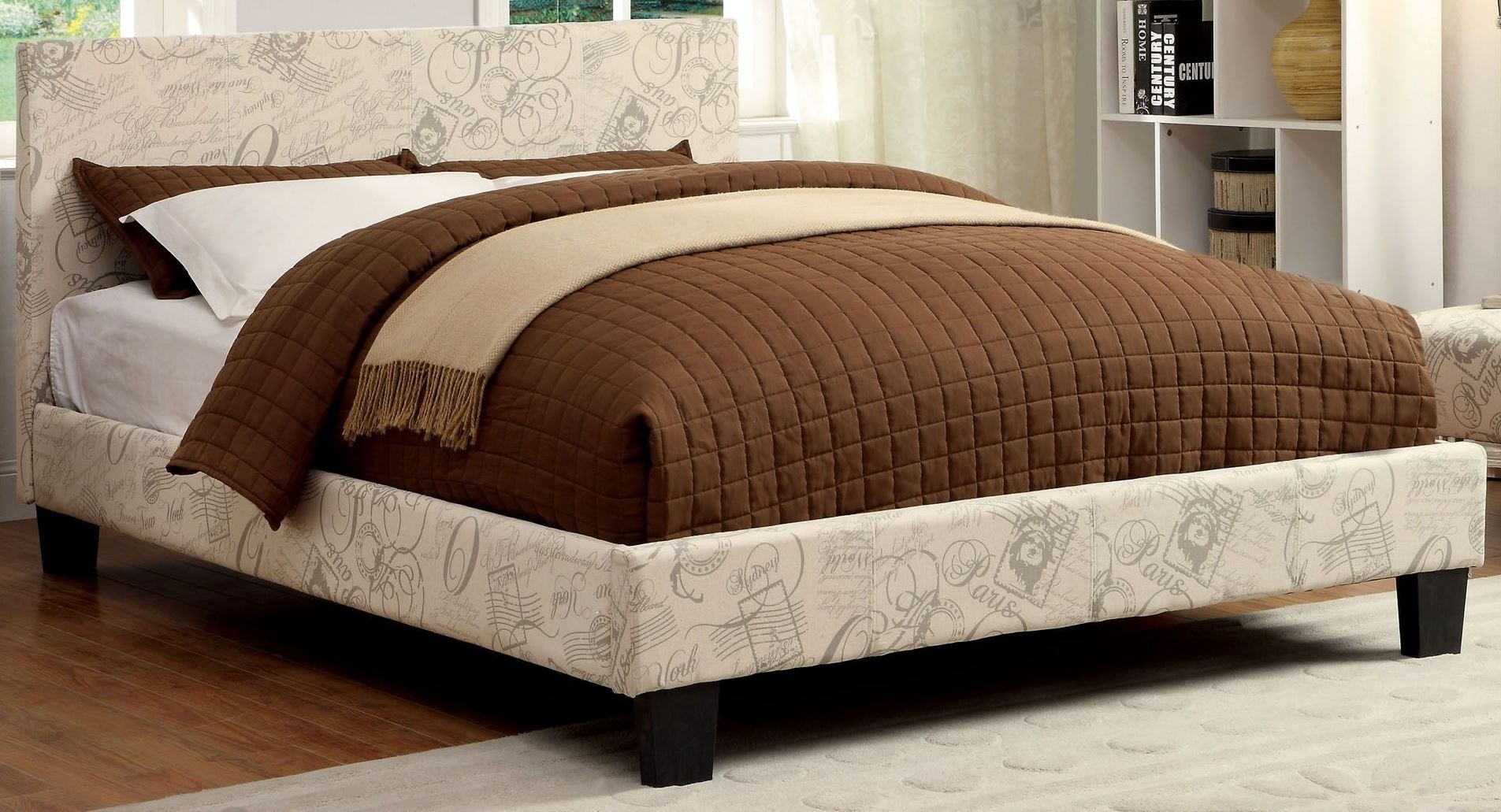 Winn park world traveler fabric queen platform bed from for K furniture fabric world