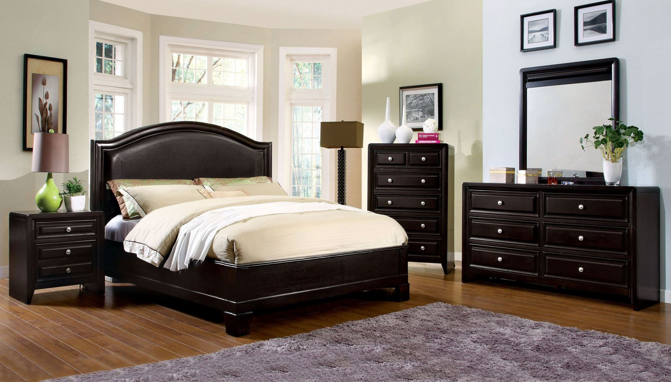 Winsor Espresso Platform Bedroom Set from Furniture of America CM7058Q BED