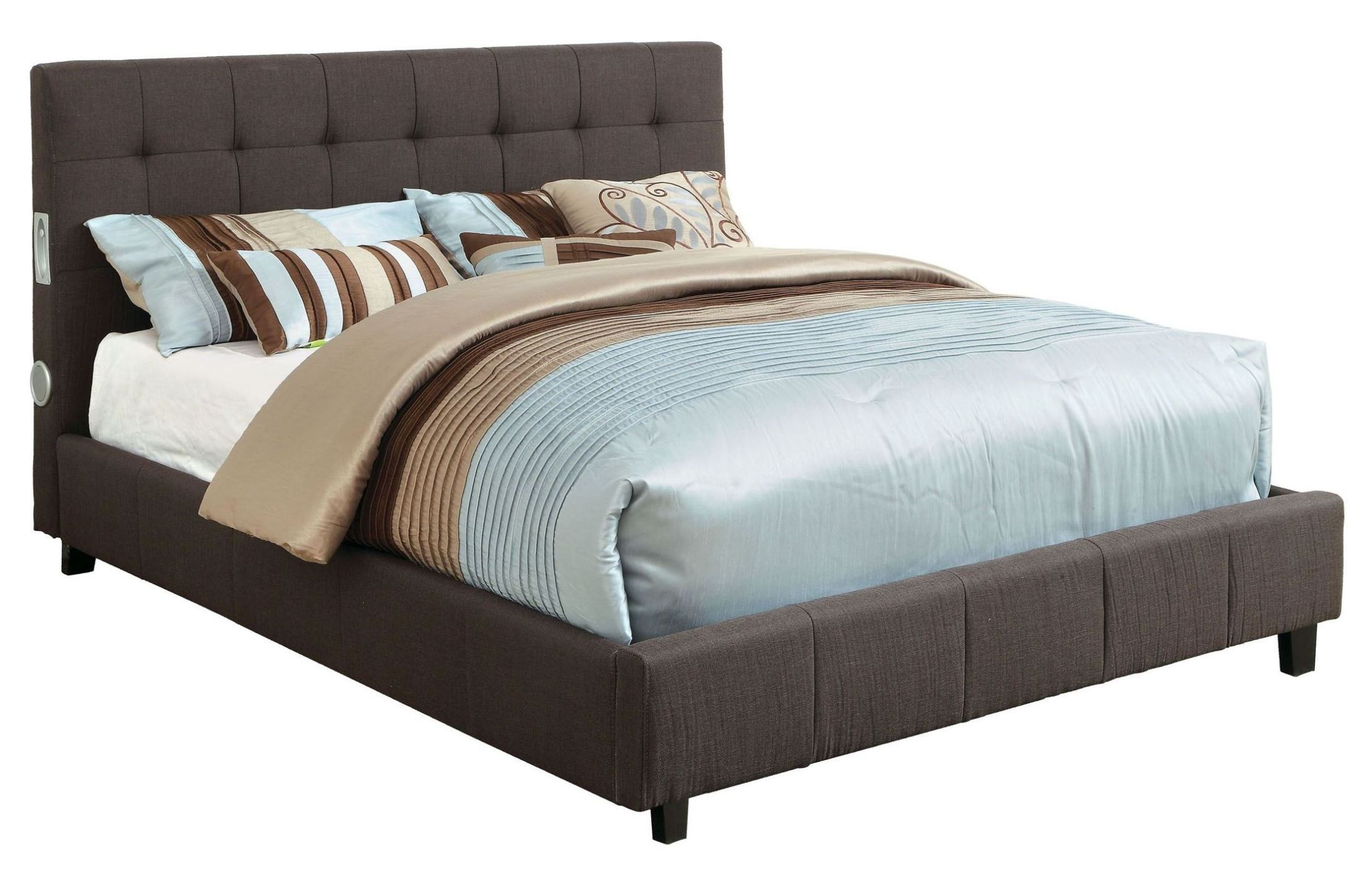 Dillan Gray Padded Fabric Queen Size Platform Bed And Bluetooth Speakers