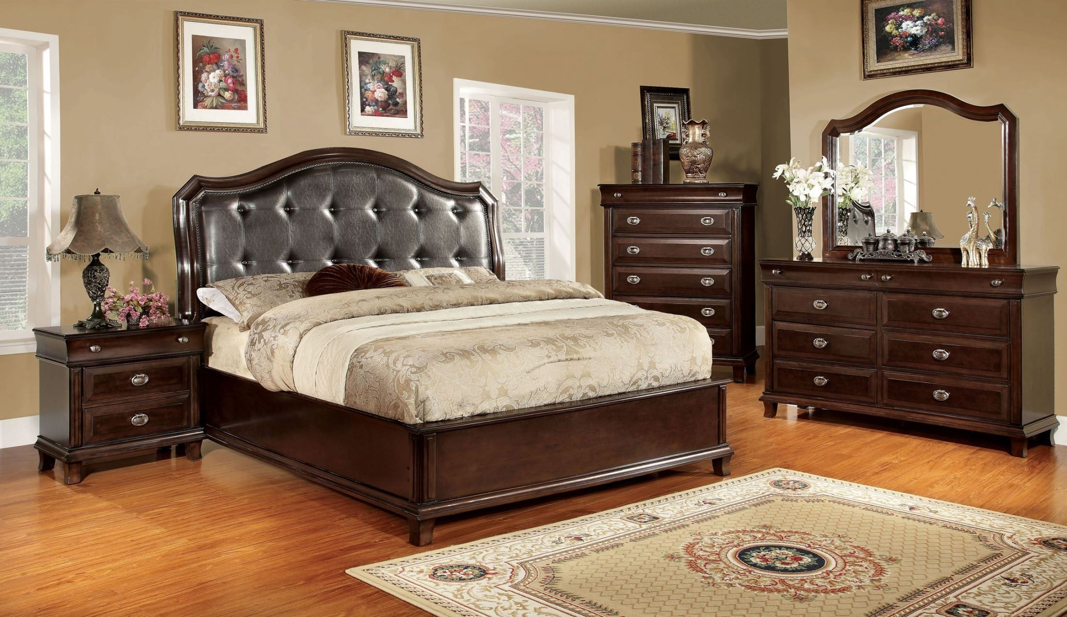 Arden brown cherry faux leather platform bedroom set for Where to get bedroom furniture
