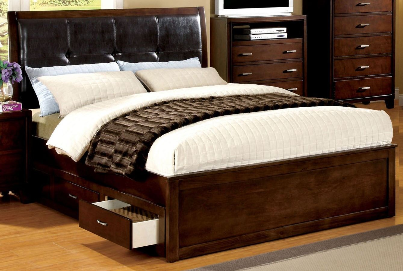 enrico iv cherry king platform storage bed from furniture of america cm7067ek bed coleman. Black Bedroom Furniture Sets. Home Design Ideas