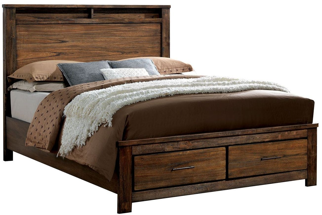 Elkton oak platform storage bedroom set cm7072q for Furniture of america