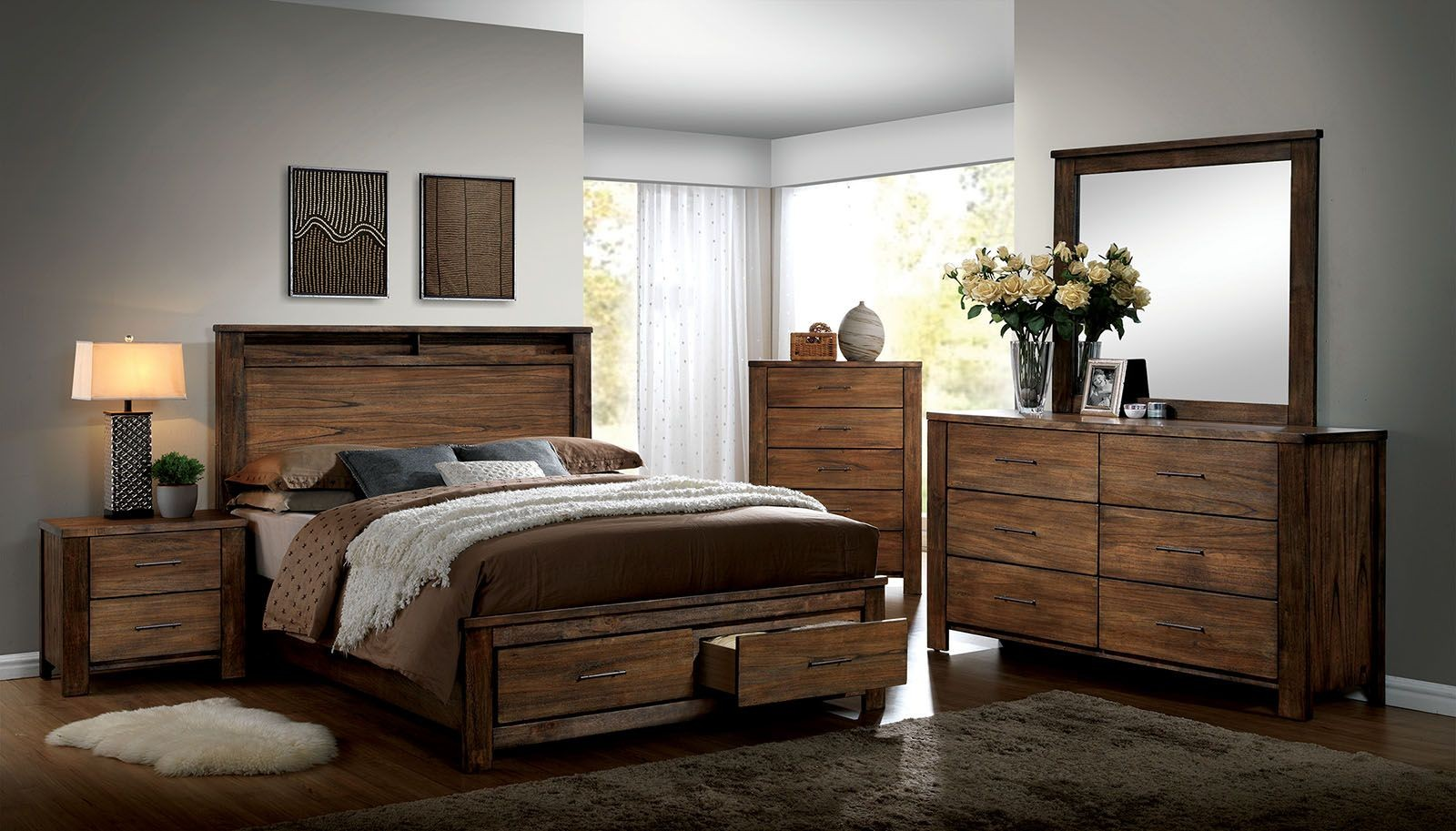 Elkton Oak Platform Storage Bedroom Set Cm7072q