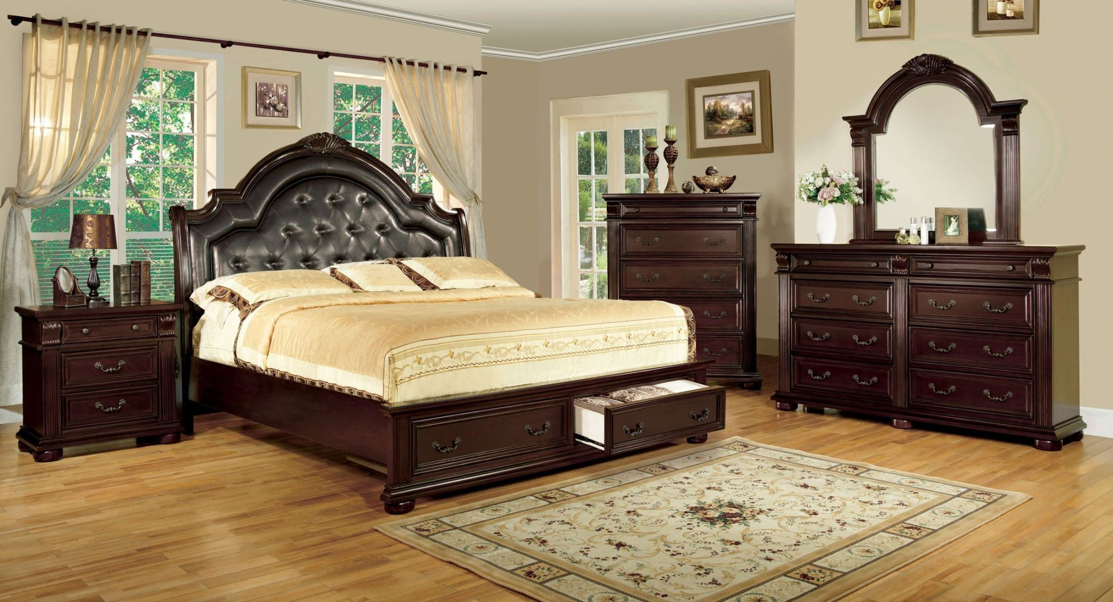 Scottsdale Brown Cherry Queen Storage Bed From Furniture