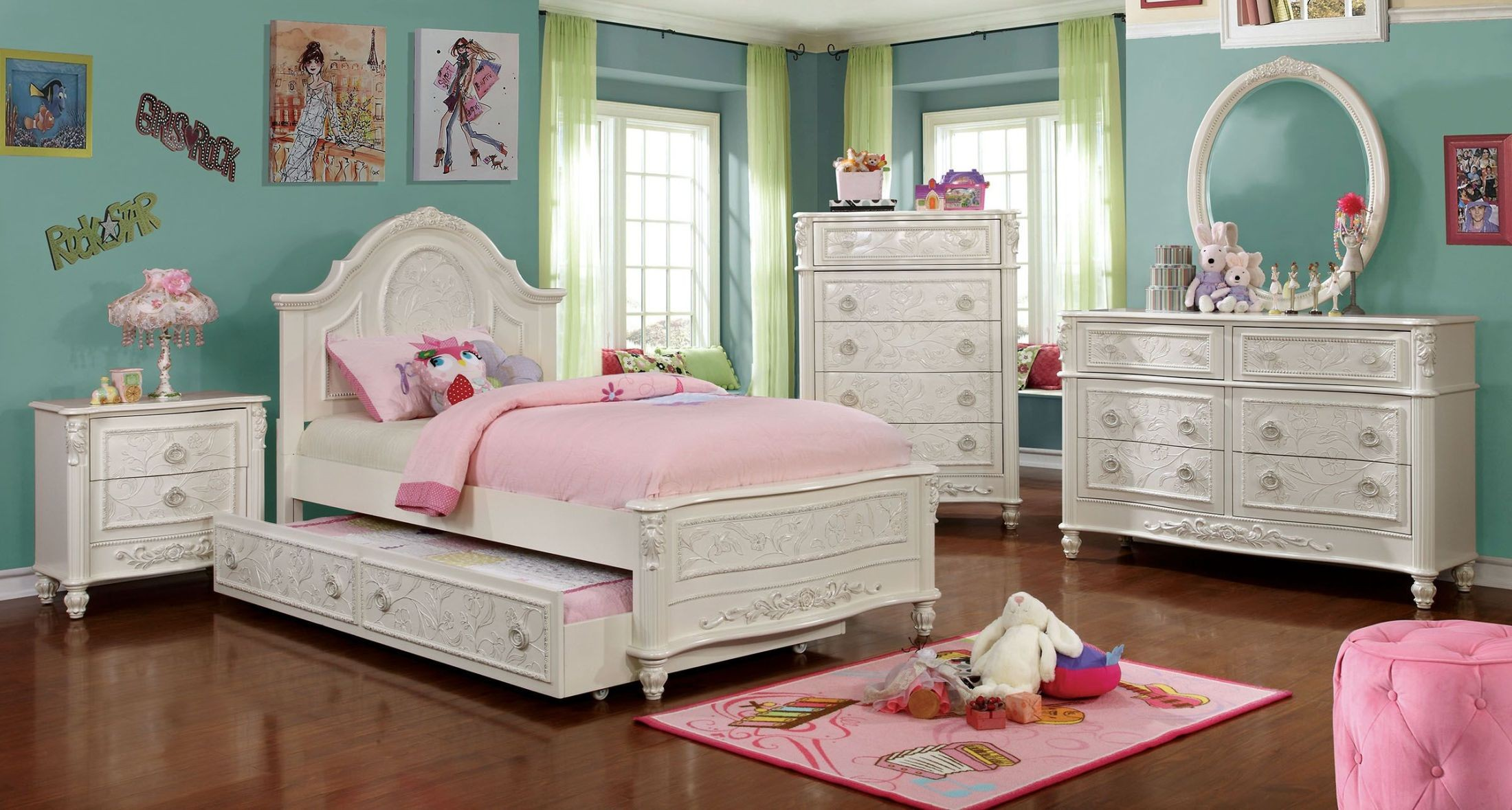 Meredith white fairy tale twin panel bed cm7193t for Fairytale beds