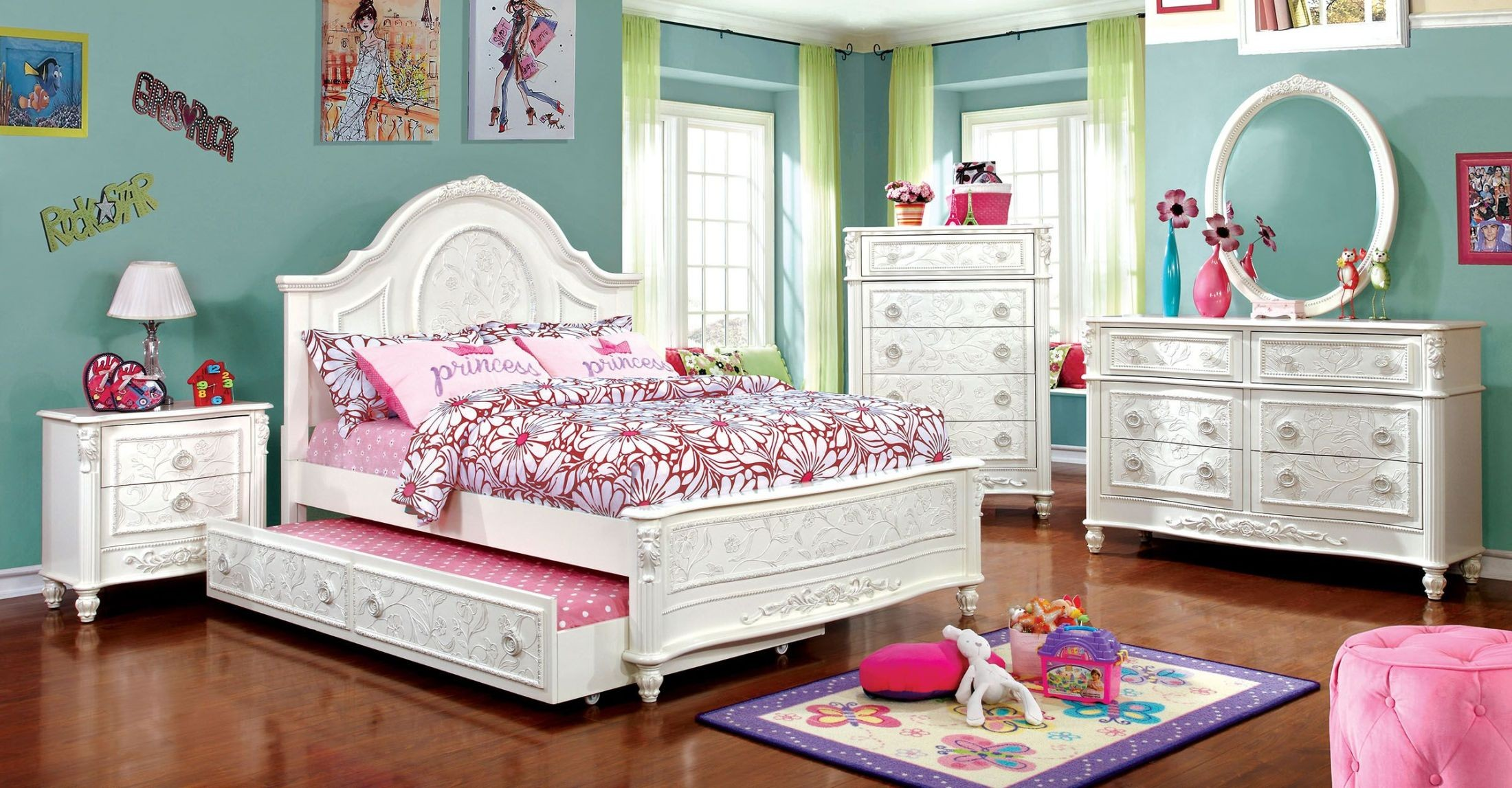 Meredith white fairy tale full panel bed cm7193f for Fairytale beds