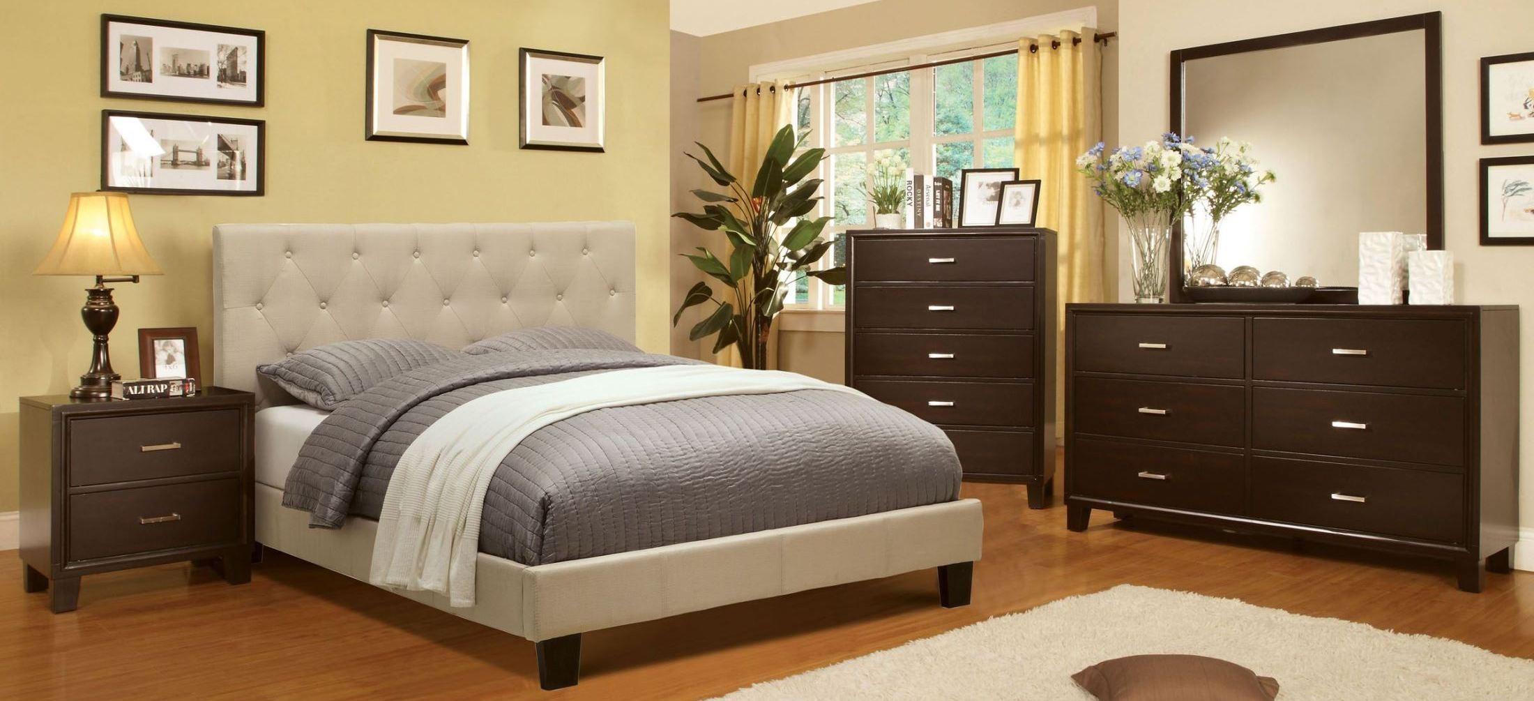 Leeroy ivory fabric platform bedroom set from furniture of for Platform bedroom sets