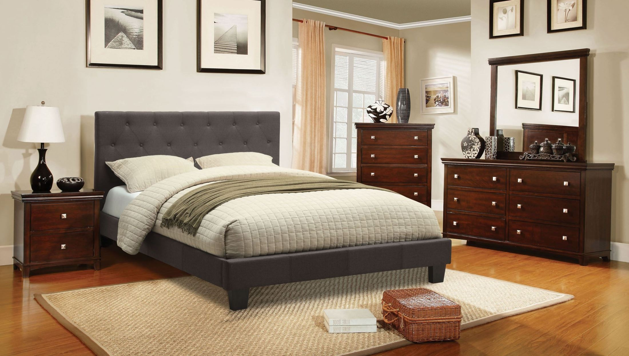 leeroy gray youth fabric platform bedroom set cm7200lb t bed furniture of america