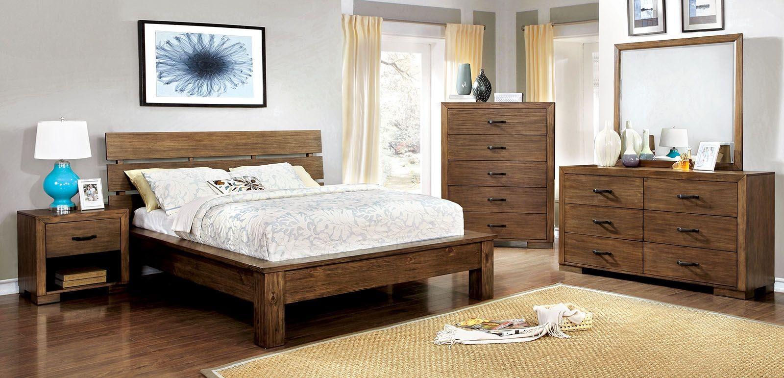 Roraima Reclaimed Pine Wood Bedroom Set Cm7251q