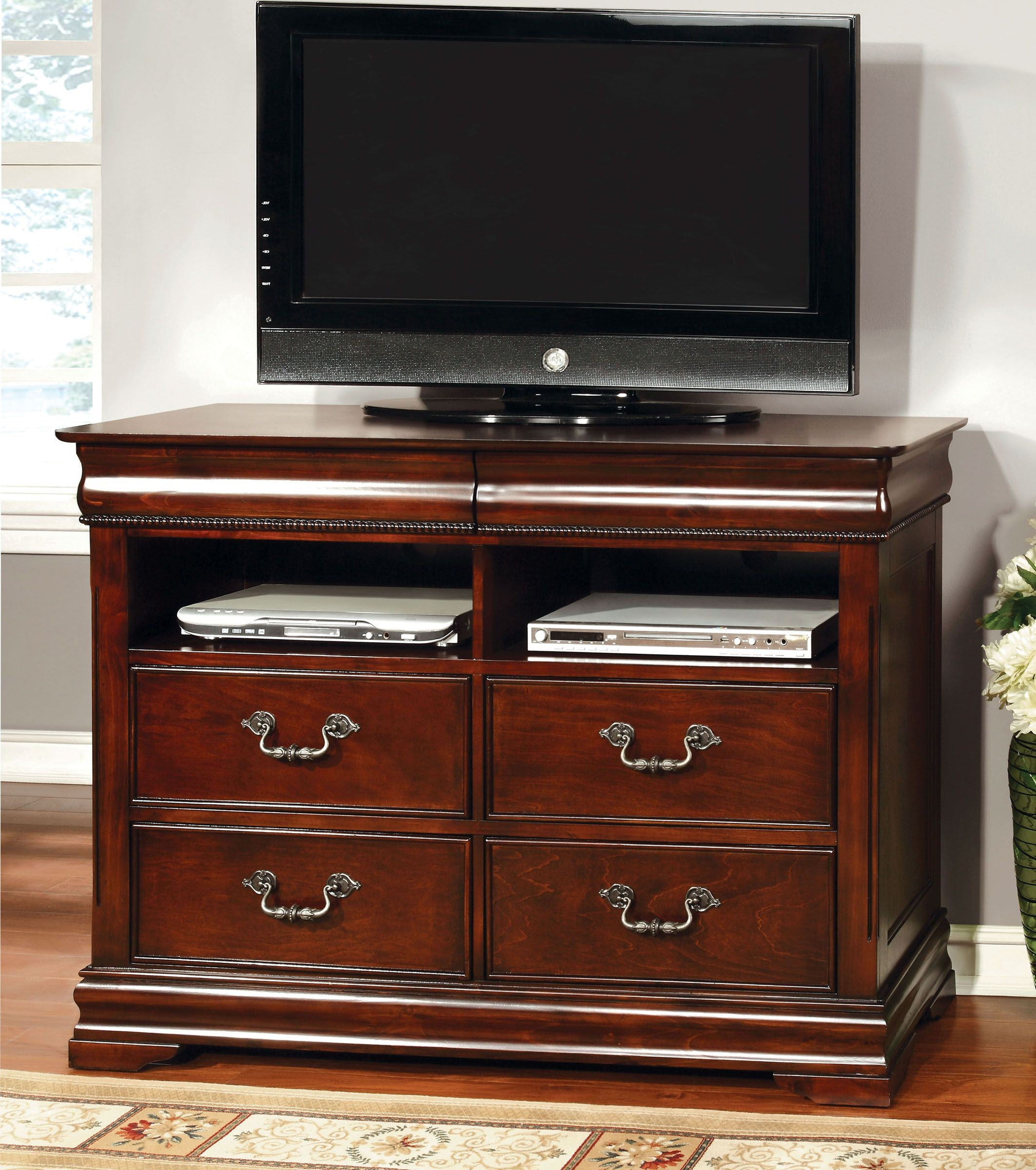 Mandura Cherry Poster Bedroom Set from Furniture of America CM7260Q BED