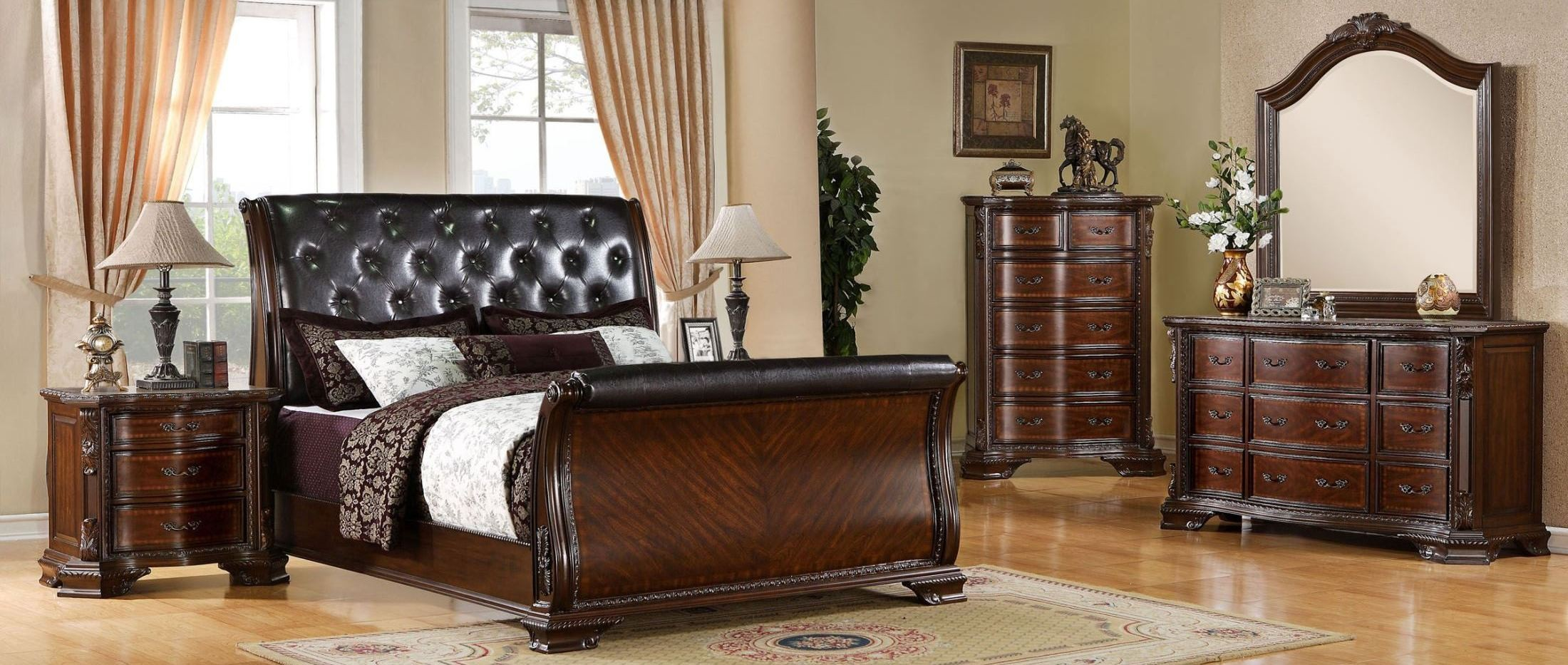 South Yorkshire Brown Cherry Sleigh Bedroom Set Cm7267q Bed Furniture Of America