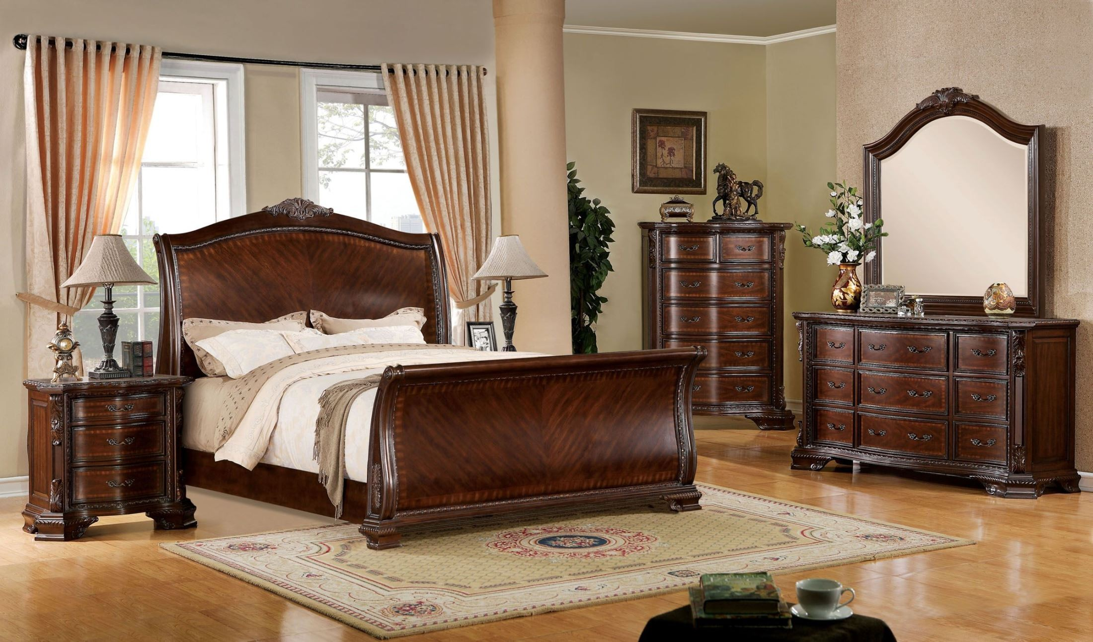 Penbroke brown cherry queen sleigh bed from furniture of america cm7270q bed coleman furniture for Bedroom furniture washington dc