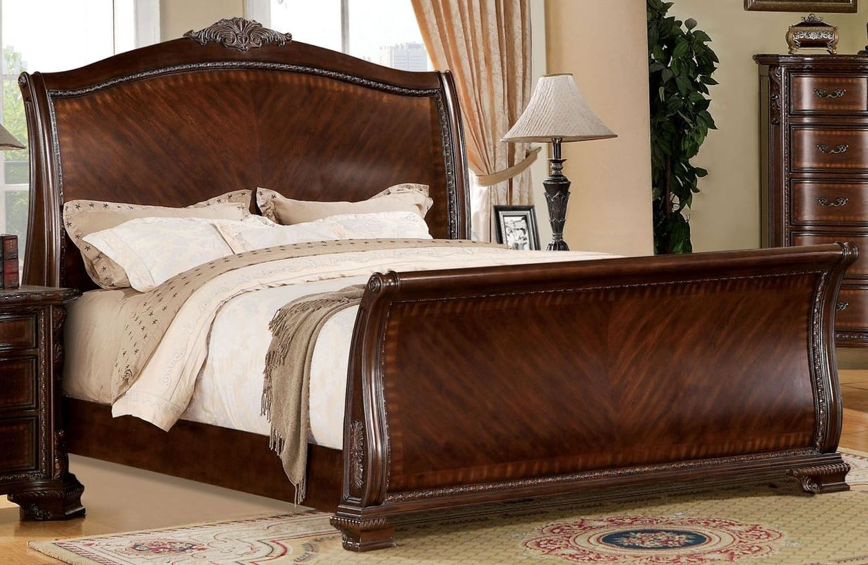Penbroke Brown Cherry Queen Sleigh Bed From Furniture Of