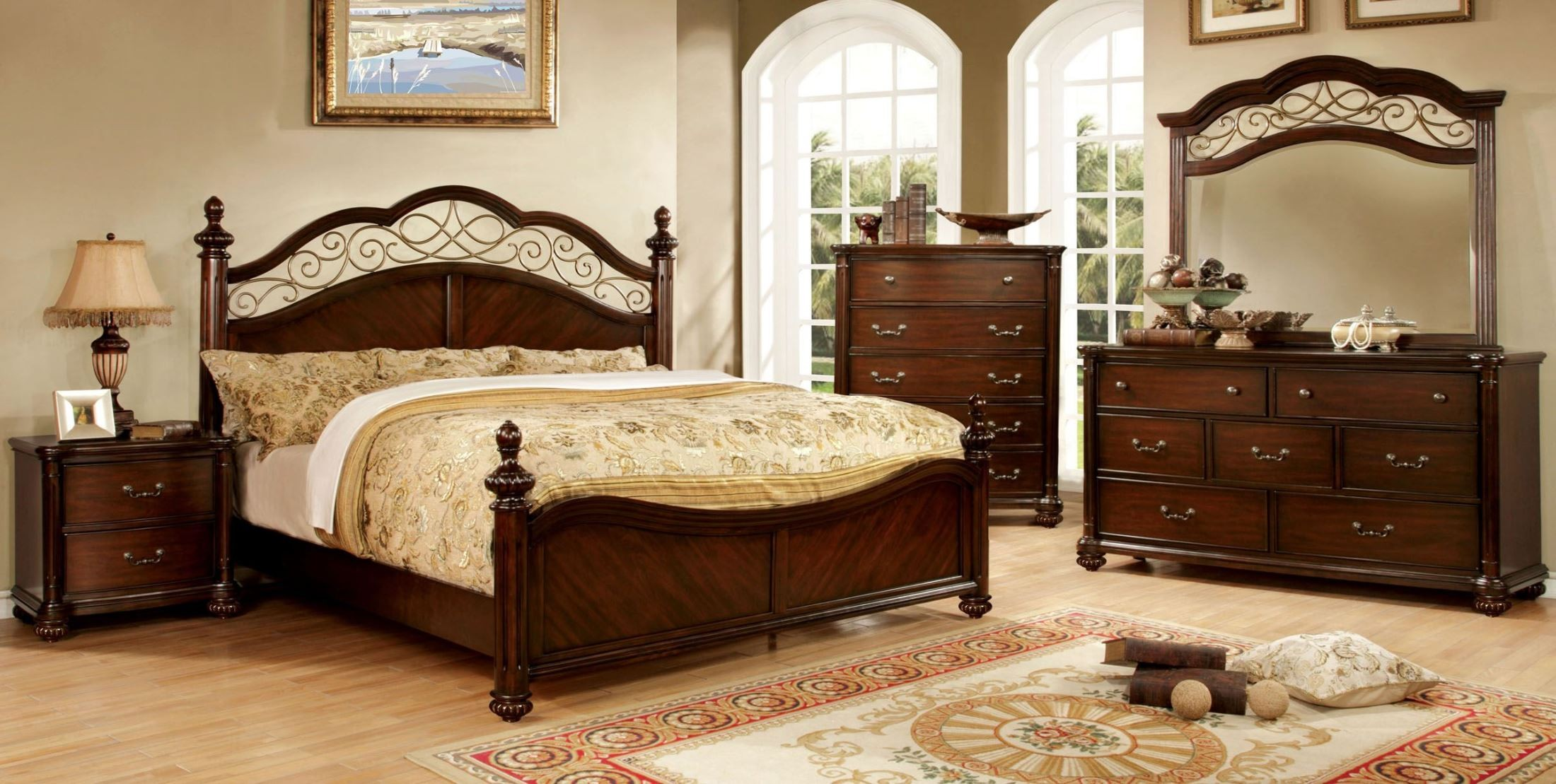 arthur dark cherry poster bedroom set cm7278q bed furniture of