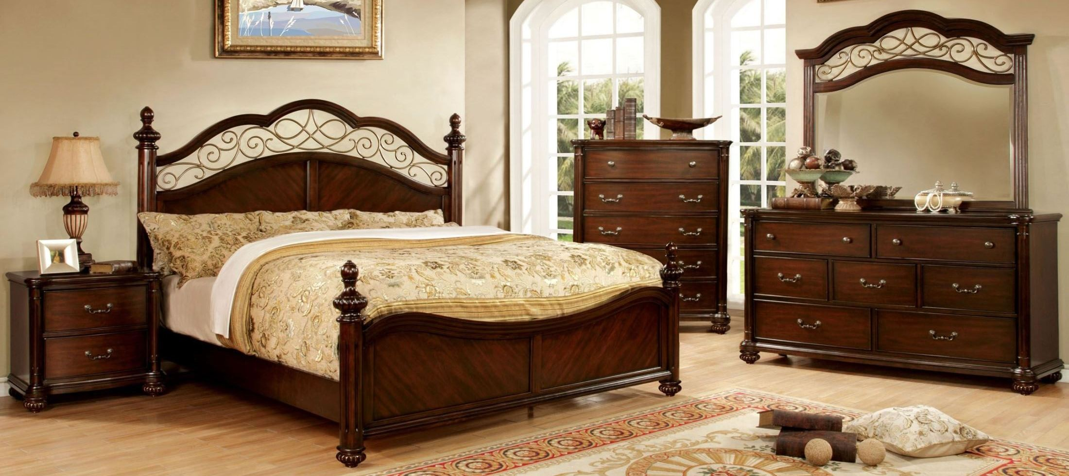 arthur dark cherry poster bedroom set from furniture of america