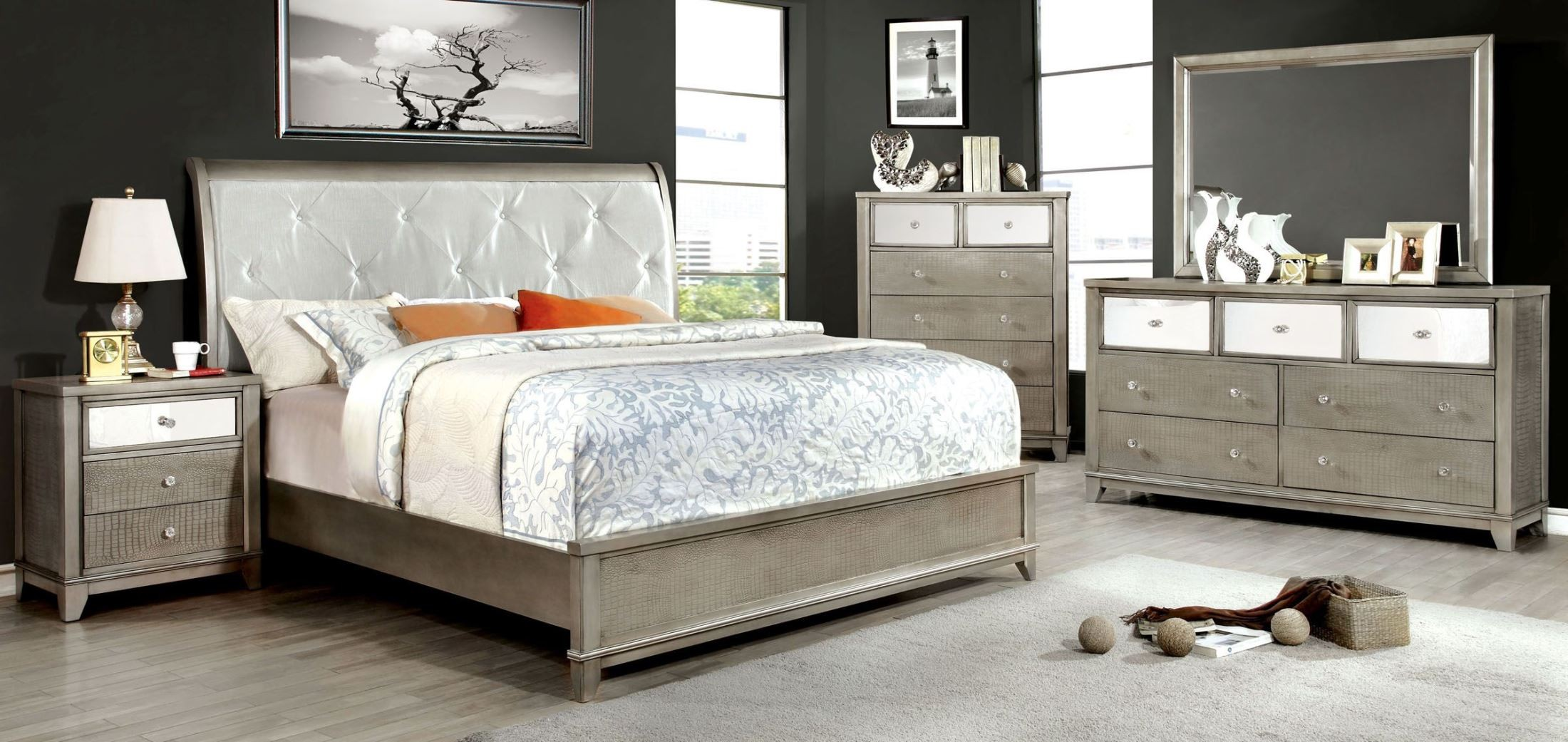 Bryant silver crocodile leatherette bedroom set from for Best bedroom furniture