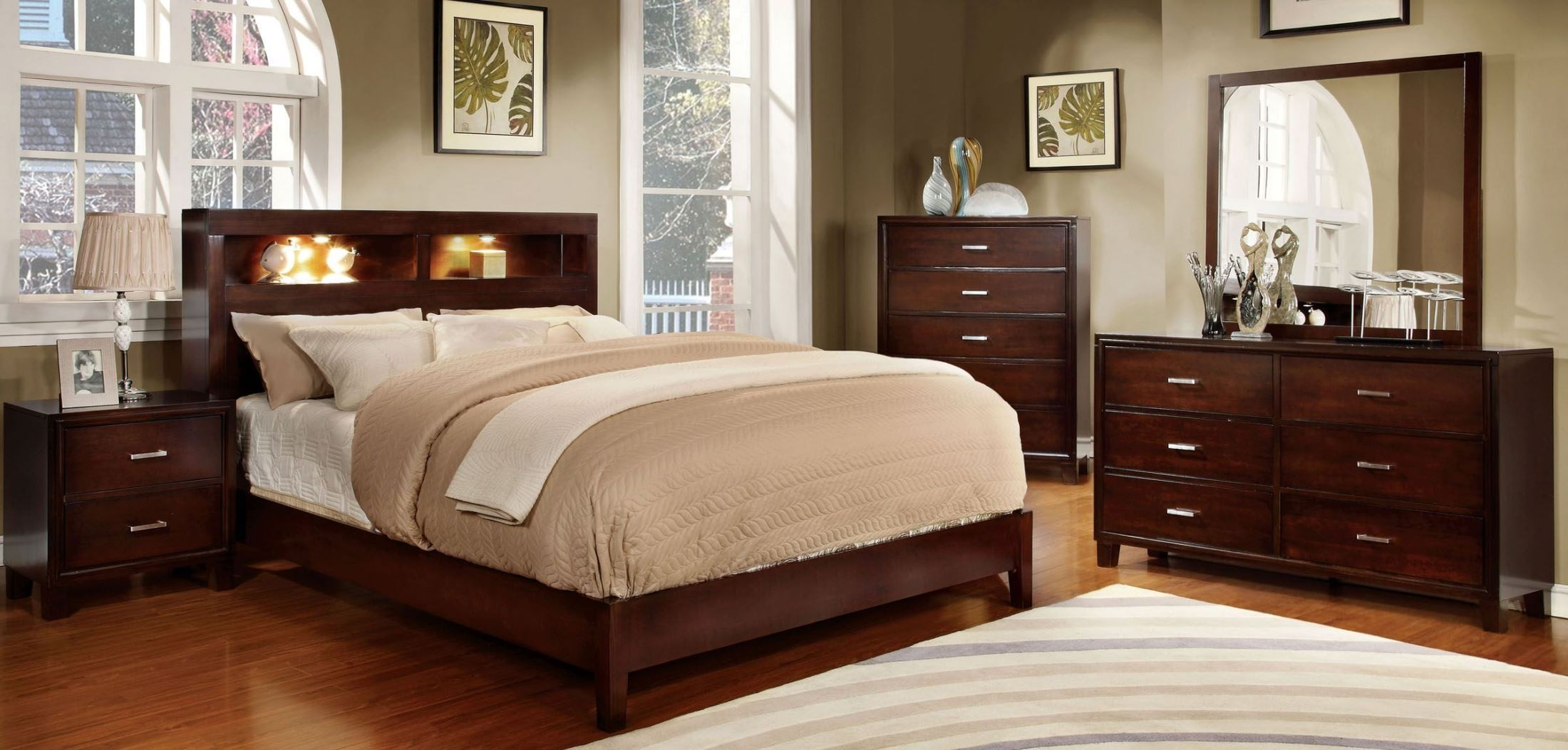 Gerico I Brown Cherry Bedroom Set from Furniture of America CM7290CH Q BED