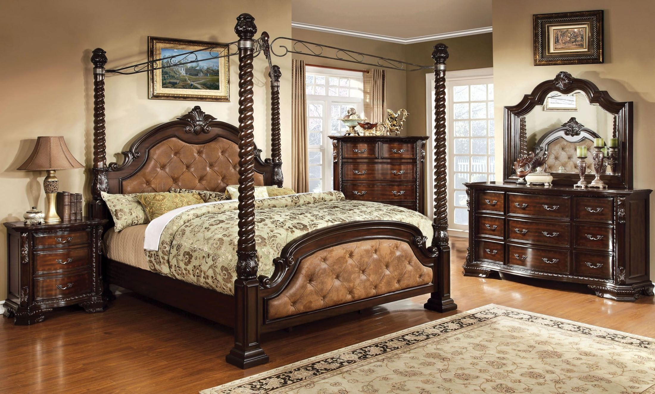 canopy bedroom set from furniture of america cm7296la c q bed