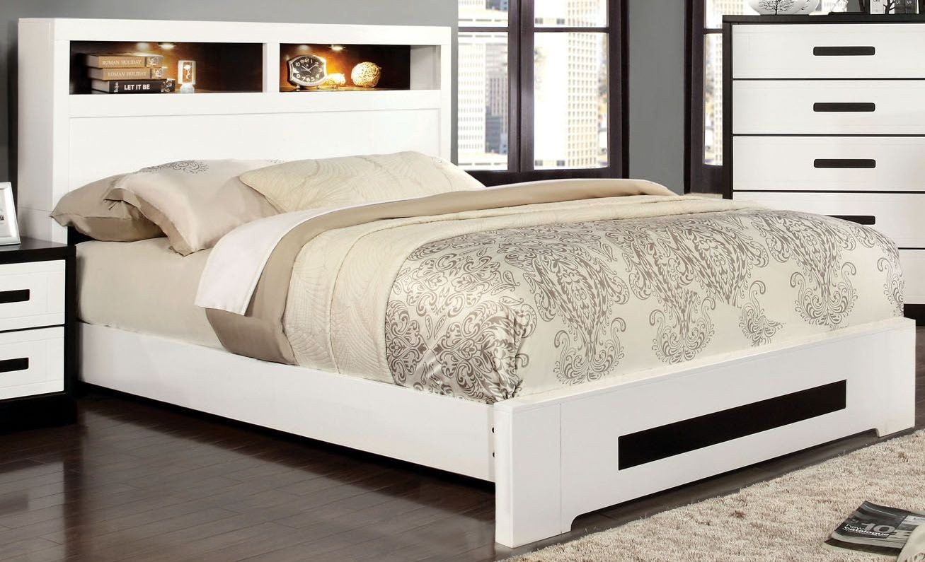 Rutger White And Black Cal King Headboard Storage Bed
