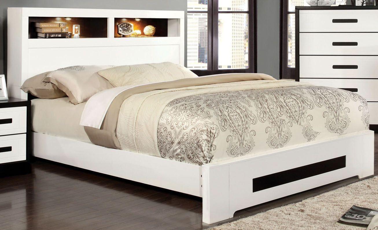 Rutger white and black cal king headboard storage bed for California king headboard
