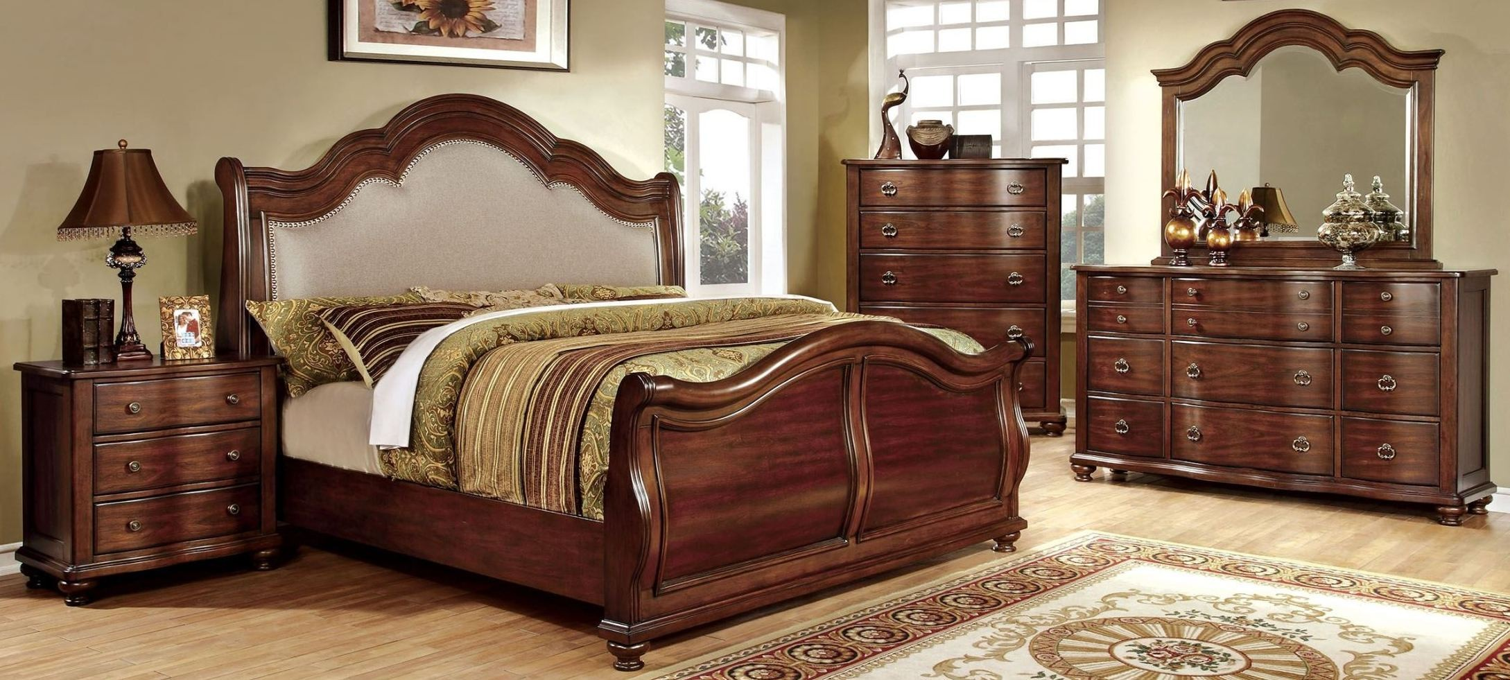 Bellavista Brown Cherry Sleigh Bedroom Set from Furniture of America CM7350H