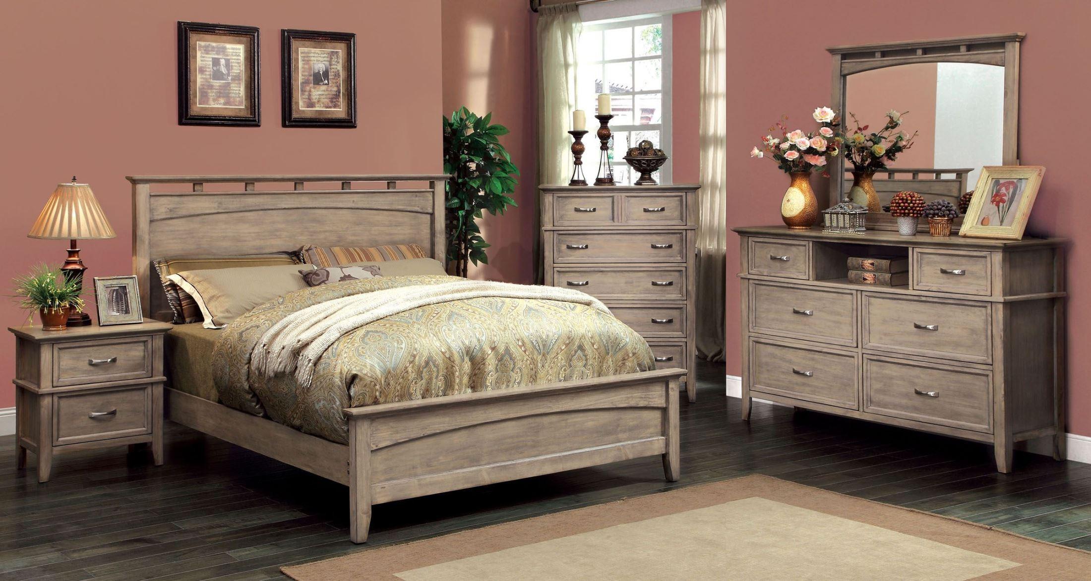 loxley weathered oak platform bedroom set cm7351l q bed