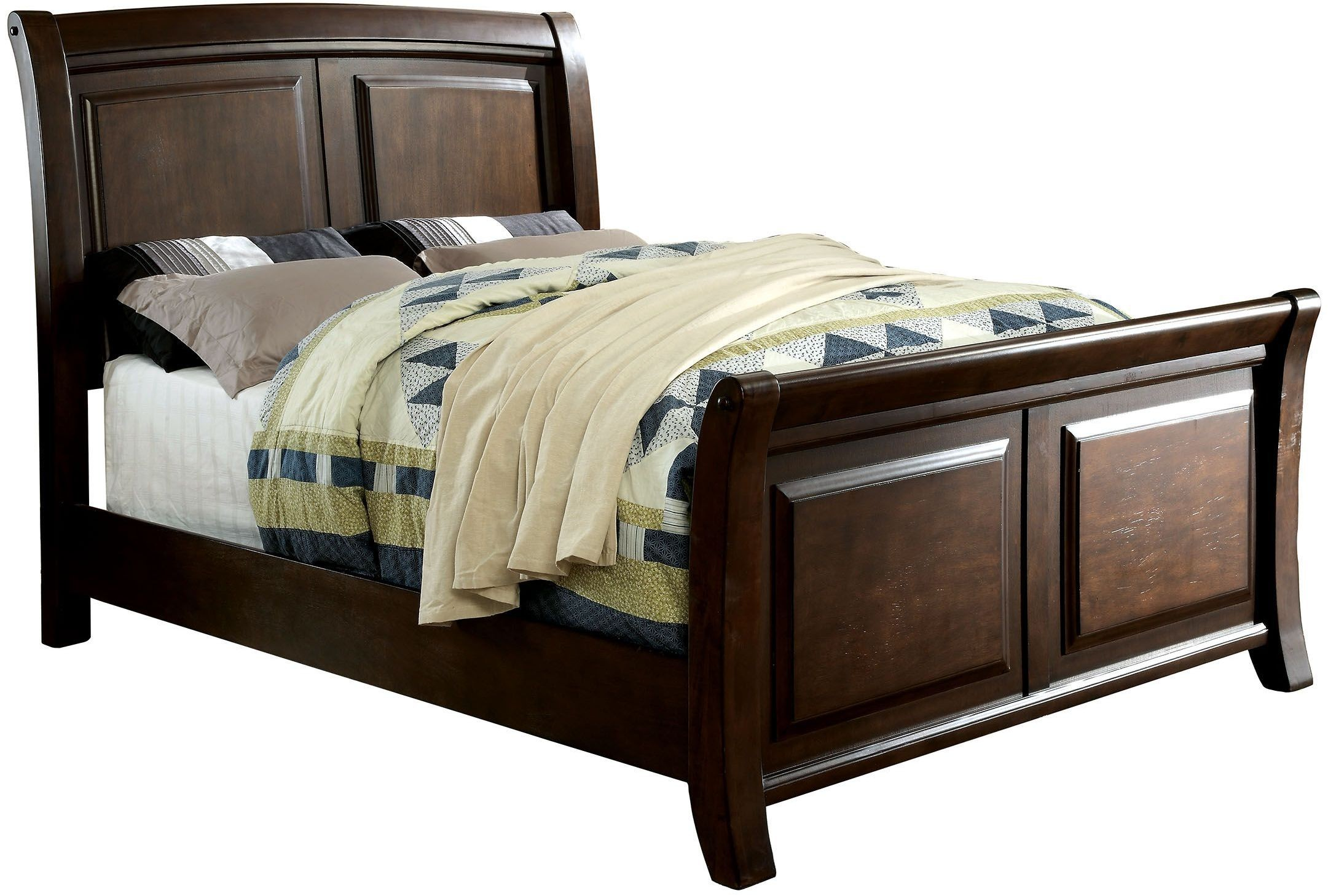 litchville brown cherry cal king sleigh bed cm7383ck furniture of america. Black Bedroom Furniture Sets. Home Design Ideas