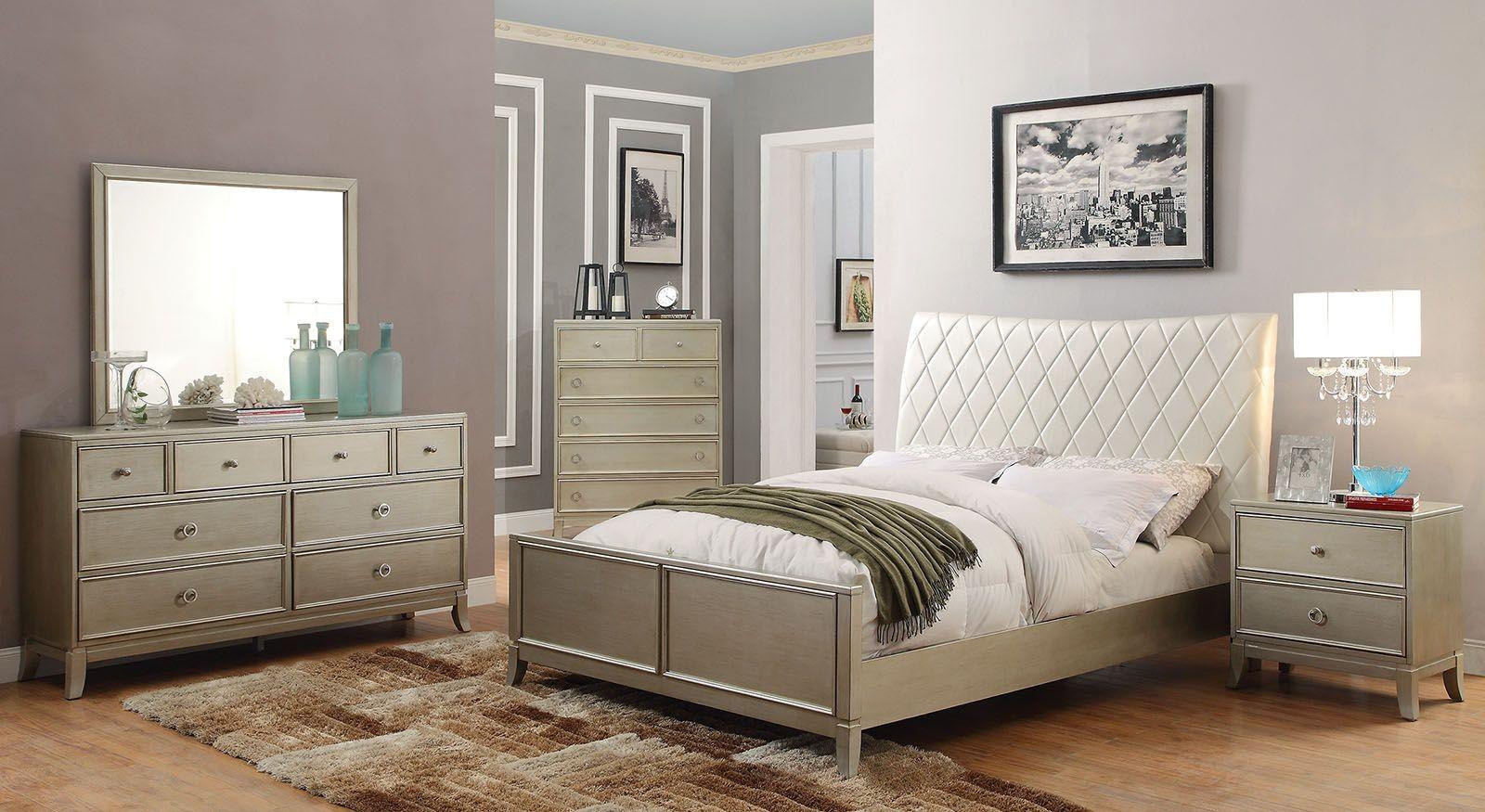enid silver upholstered panel bedroom set cm7430q furniture of america. Black Bedroom Furniture Sets. Home Design Ideas