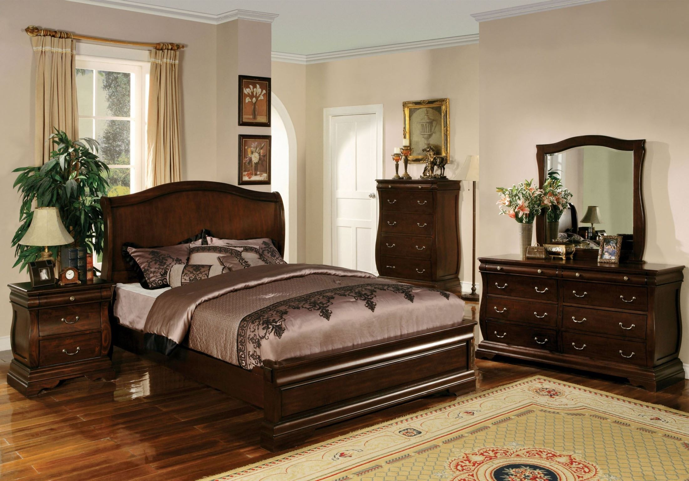 Esperia dark walnut platform bedroom set cm7503q bed for American black walnut bedroom furniture