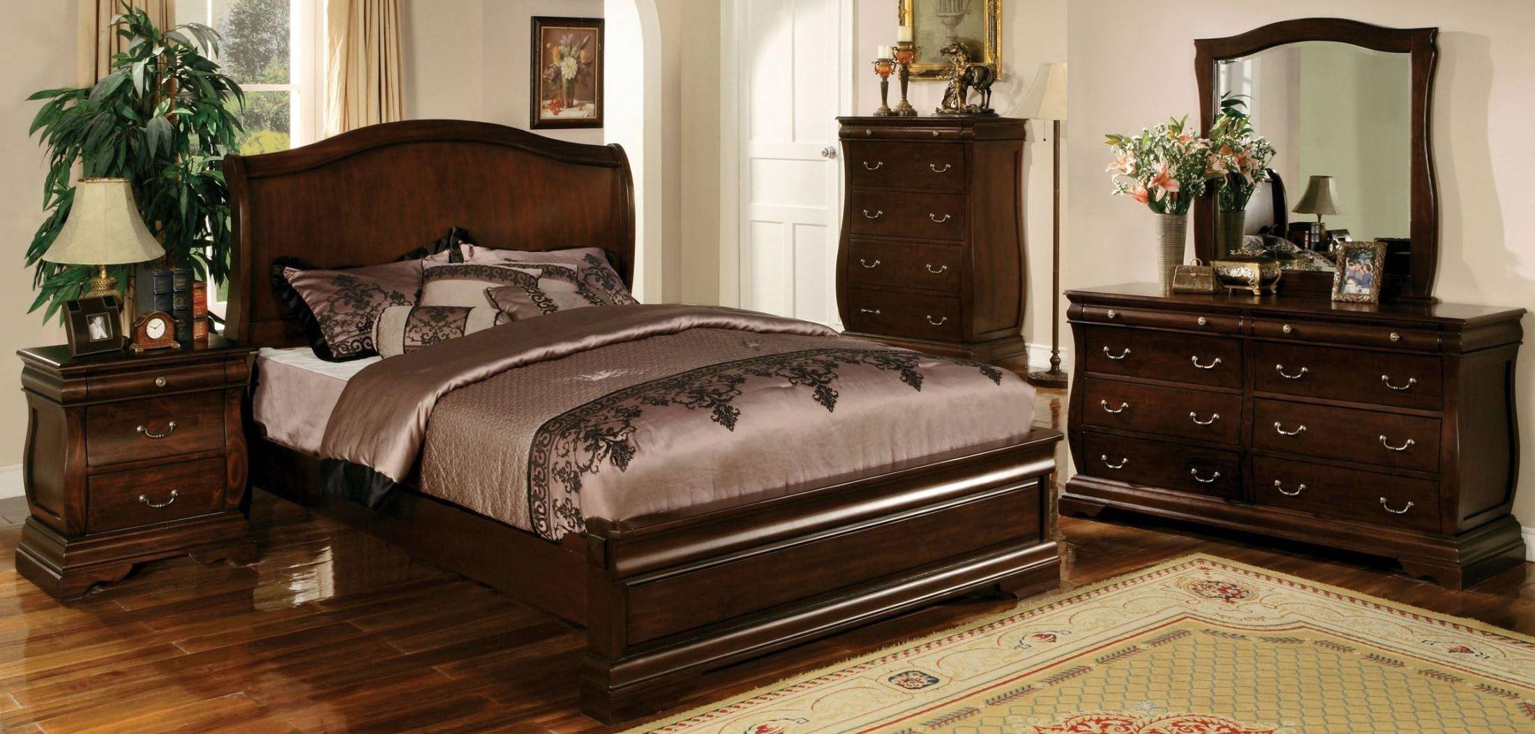 Walnut Bedroom Furniture Sets Esperia Dark Walnut Bedroom Set From Furniture  Of America .